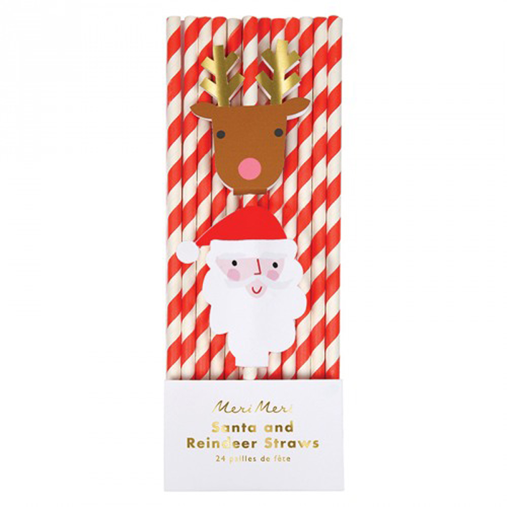 Santa & Reindeer Straws by Meri Meri