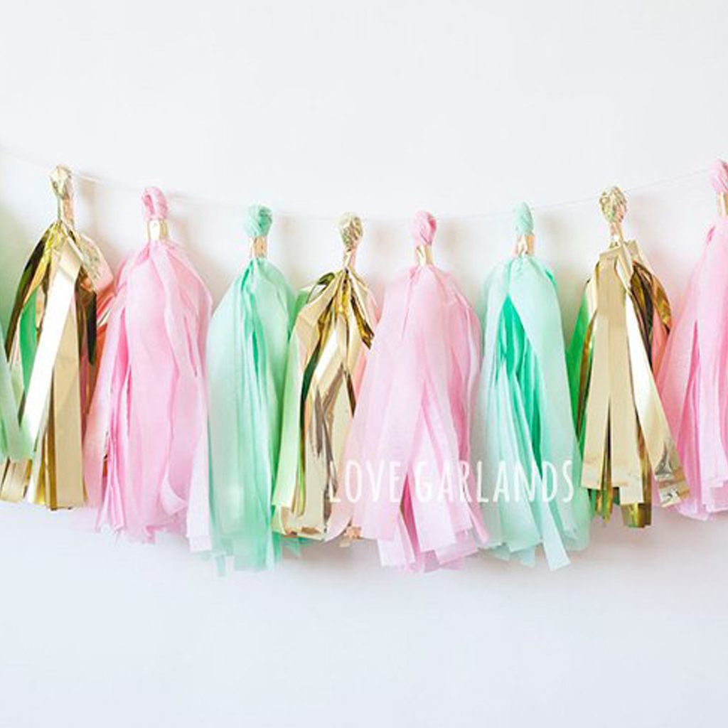 Pink Mint Gold Tassel Garland