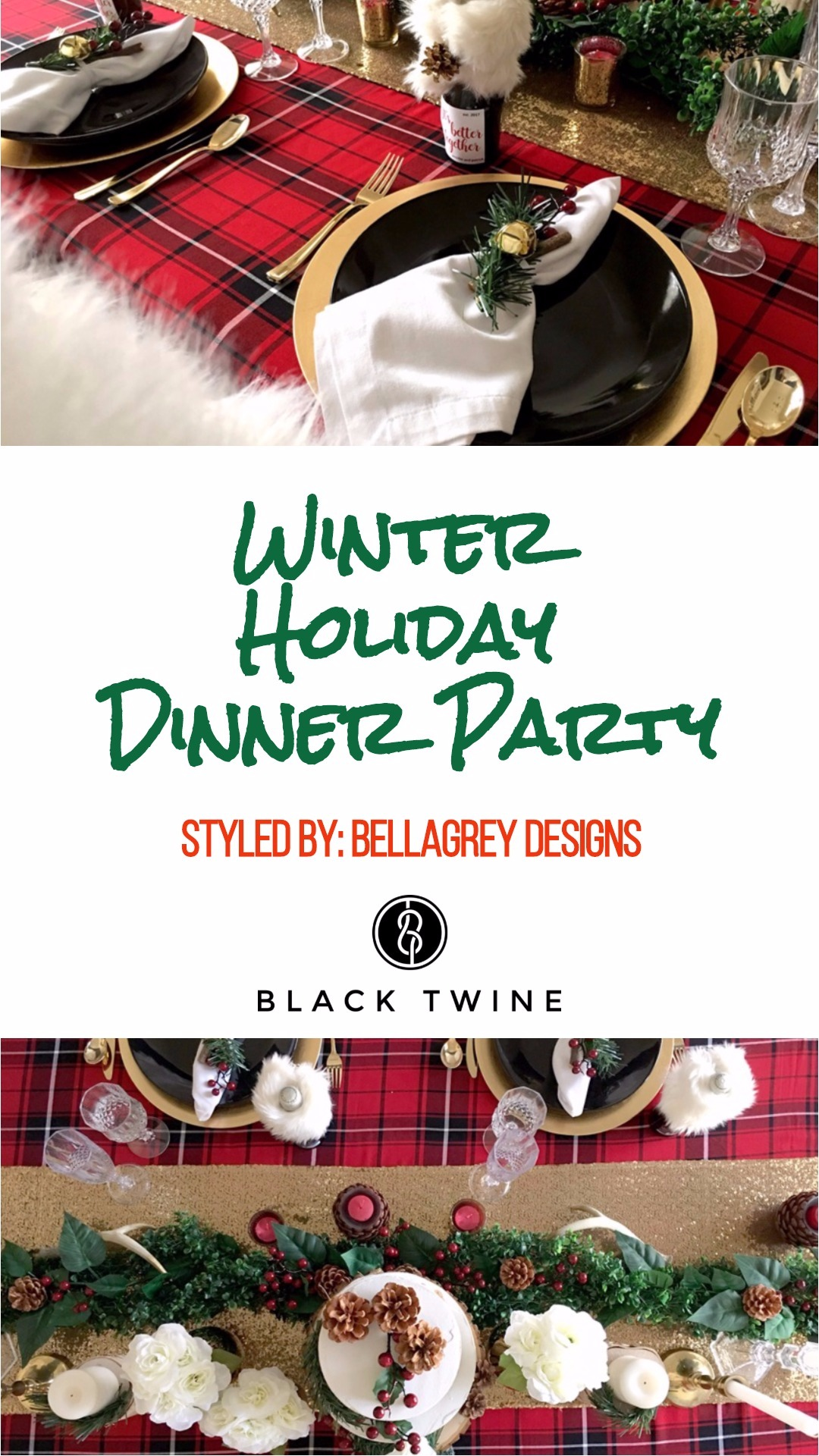 Winter Holiday Dinner Party styled by BellaGrey Designs | Black Twine