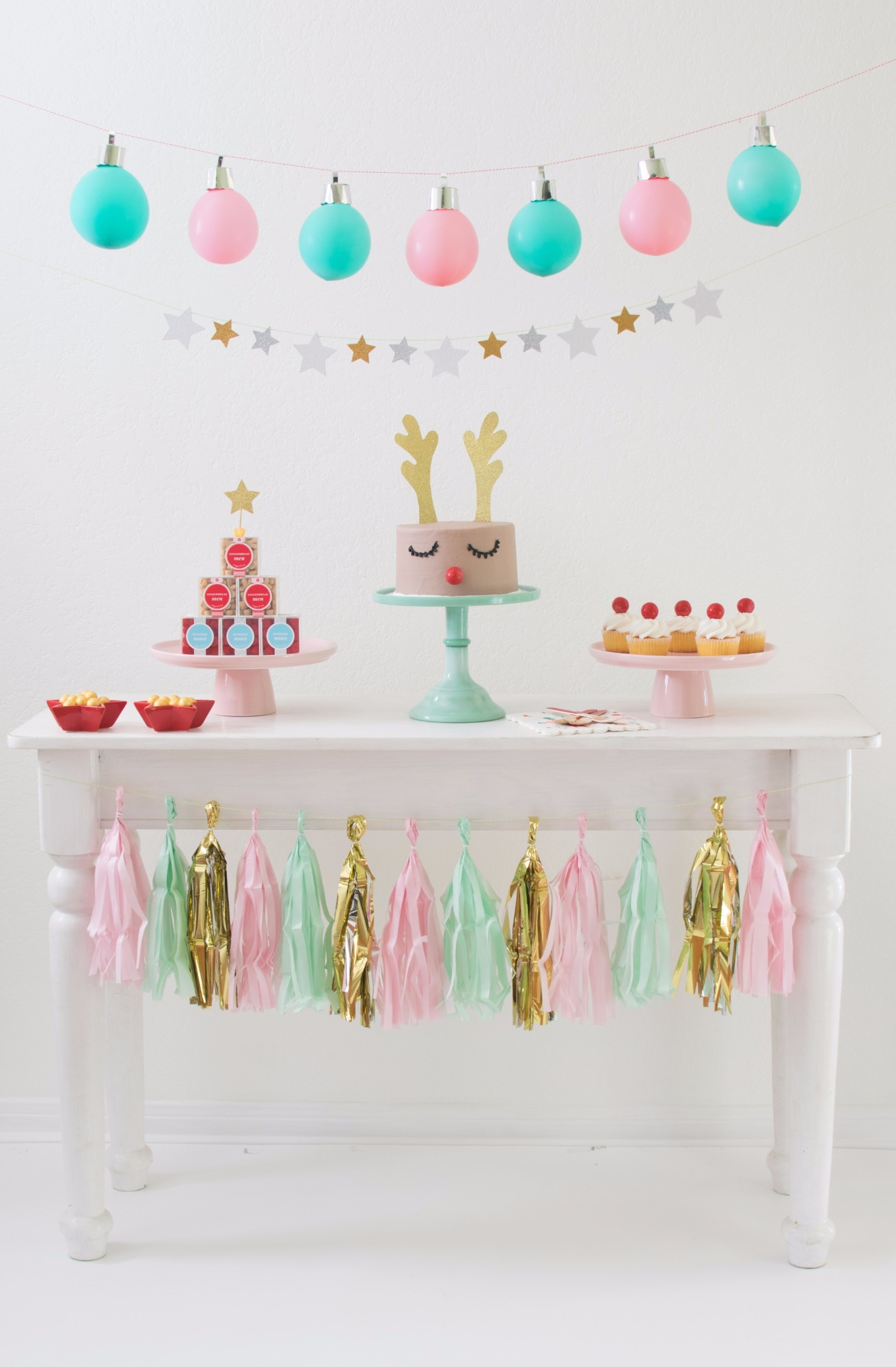 Dessert Table from Holiday Cookie Decorating Party by Twinkle Twinkle Little Party | Black Twine