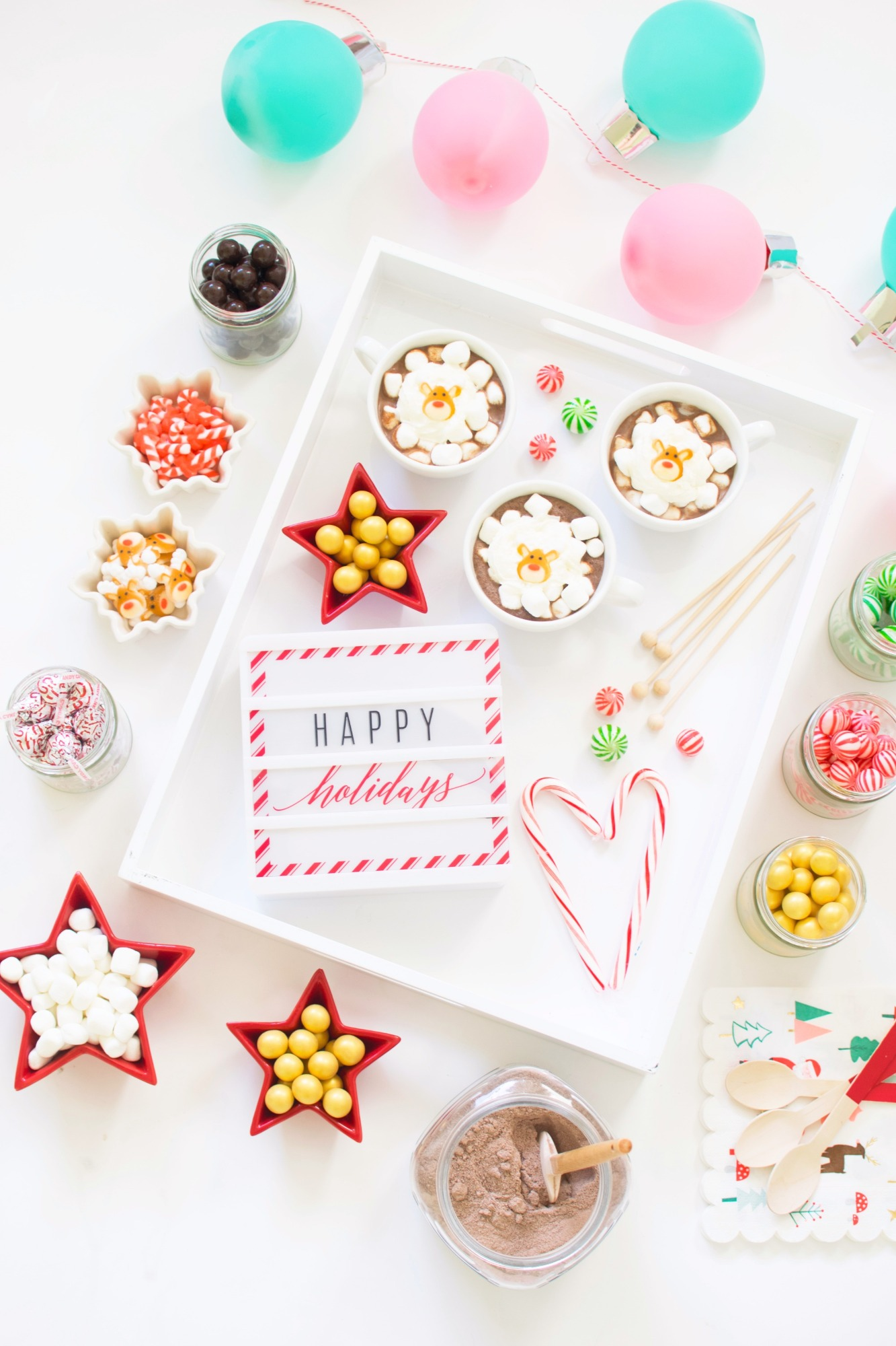 Hot Chocolate and Candy on Tray from Holiday Cookie Decorating Party by Twinkle Twinkle Little Party | Black Twine