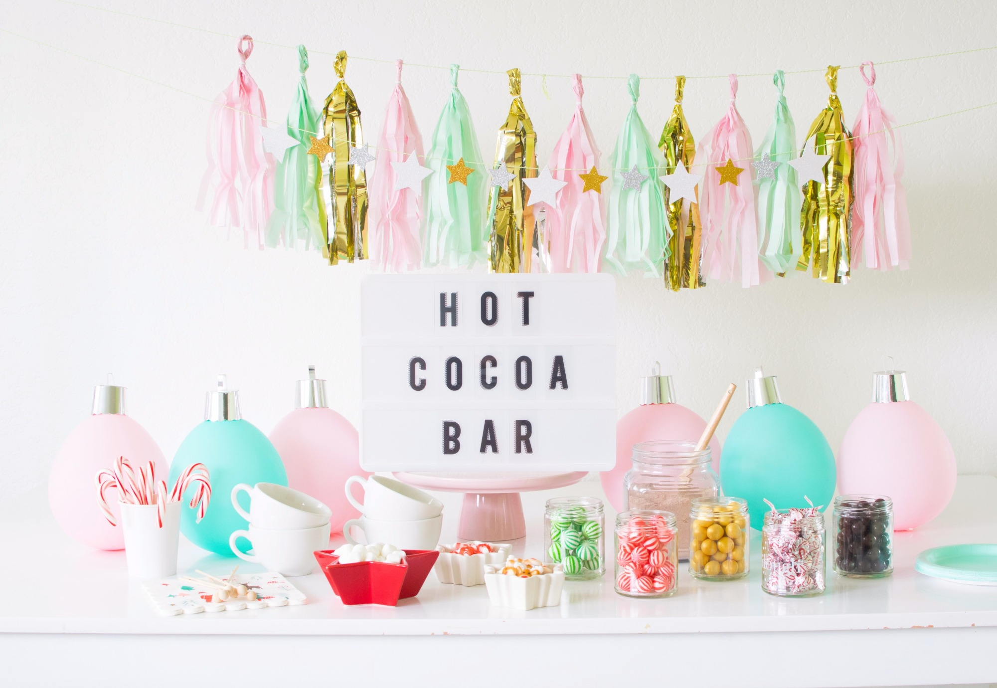 Hot Cocoa Bar from Holiday Cookie Decorating Party by Twinkle Twinkle Little Party | Black Twine
