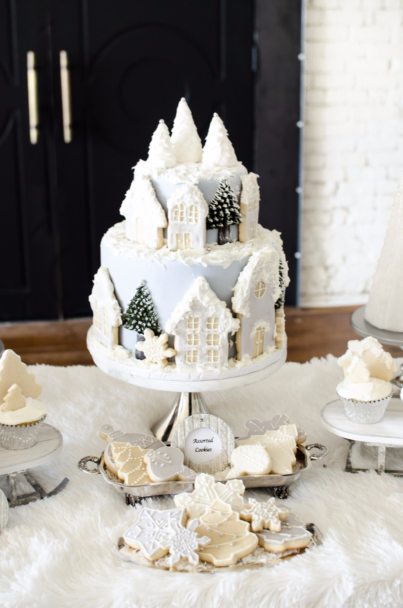 Cake and Cookies from Winter Wonderland Shower Styled by Mint Event Design | Black Twine