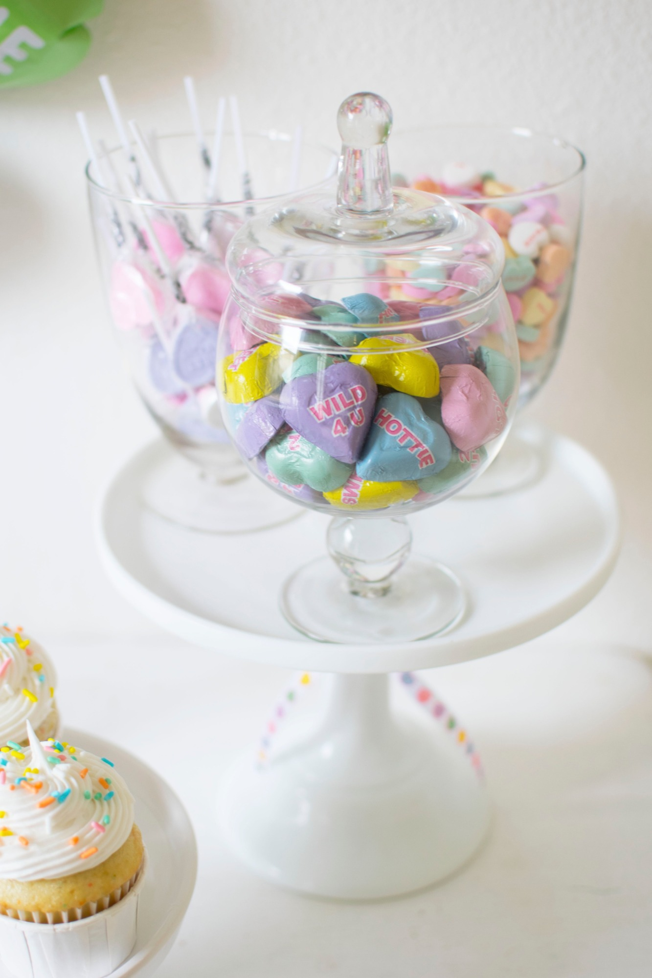 Candy in Glass Containers from Conversation Hearts Party styled by Twinkle Twinkle Little Party | Black Twine