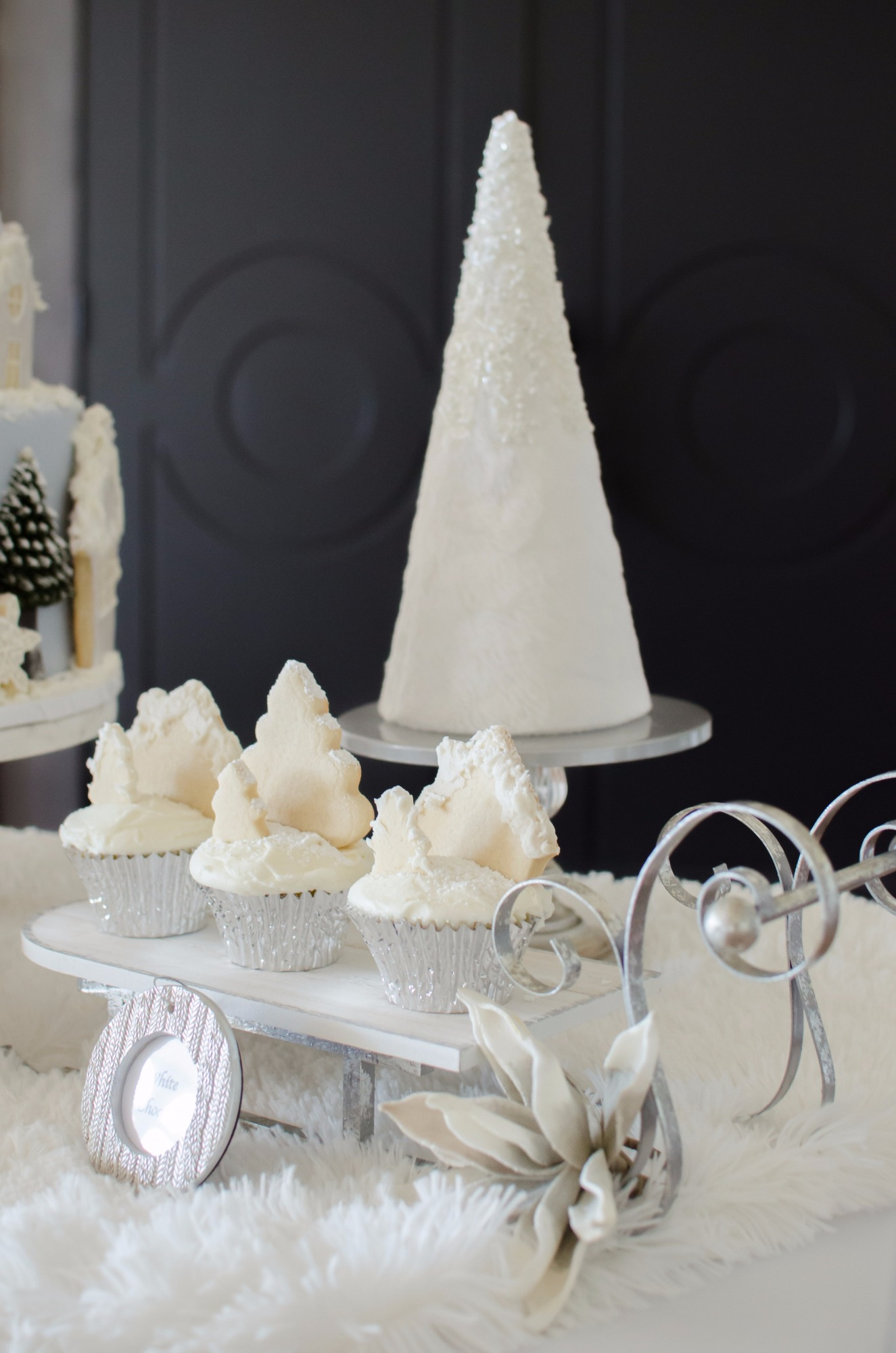 Cupcakes from Winter Wonderland Shower Styled by Mint Event Design | Black Twine