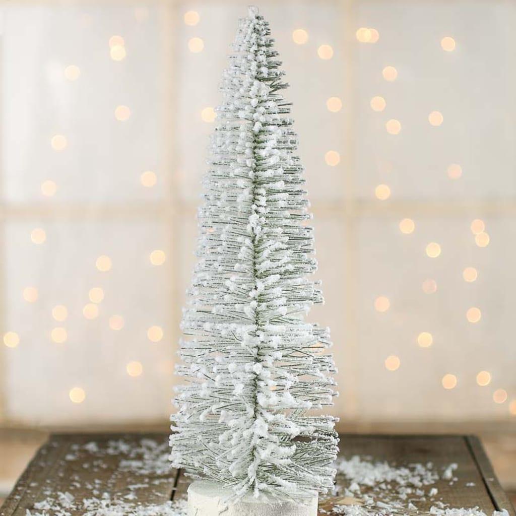 Flocked Snowy White Bottle Brush Tree