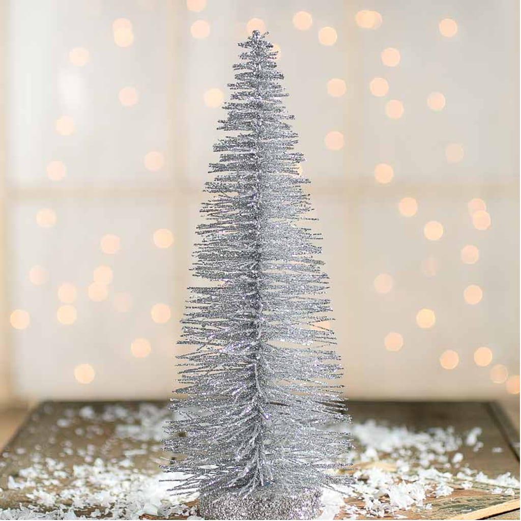 Silver Glittered Bottle Brush Tree