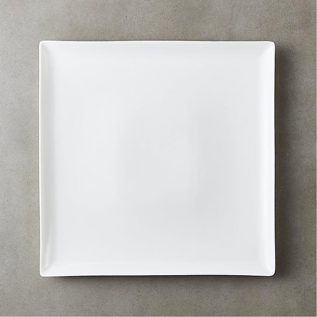 tuck white square dinner plate - CB2