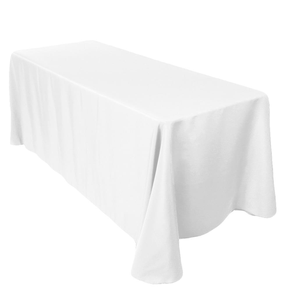 90 x 156 inch Rectangular White Tablecloth Polyester | Wedding Tablecloth