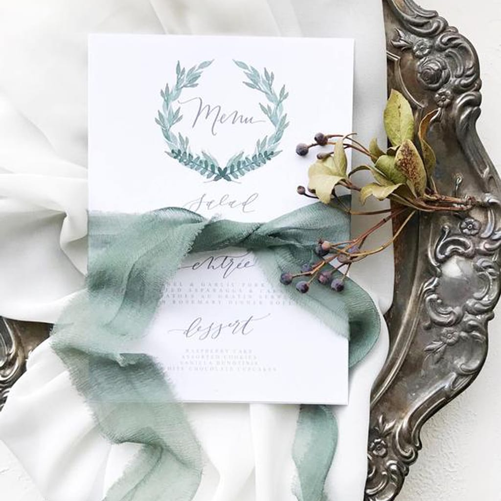 Winter Wreath Menu Cards by Sea and Sun Calligraphy