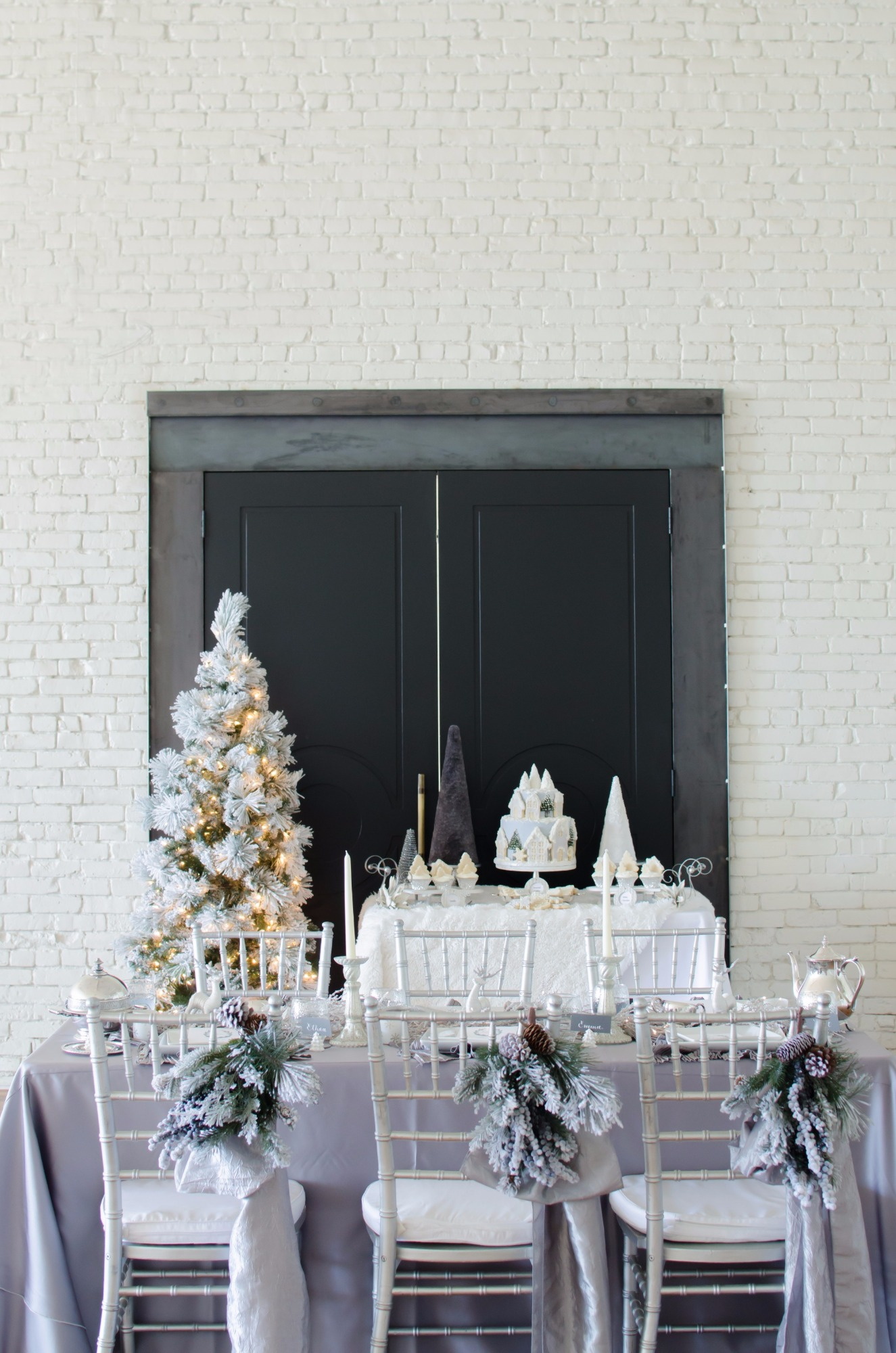 Dessert Table and Tablescape from Winter Wonderland Shower Styled by Mint Event Design | Black Twine