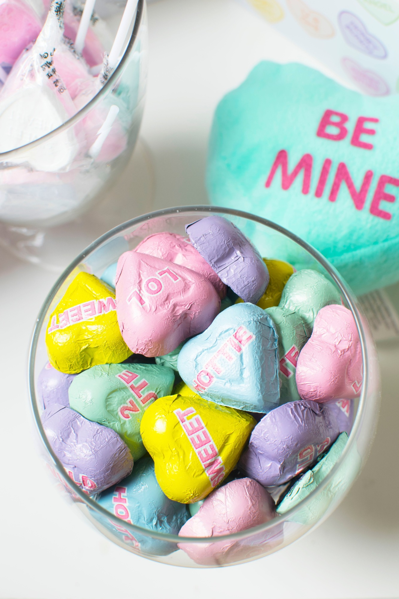 Bowl of Chocolates from Conversation Hearts Party styled by Twinkle Twinkle Little Party | Black Twine