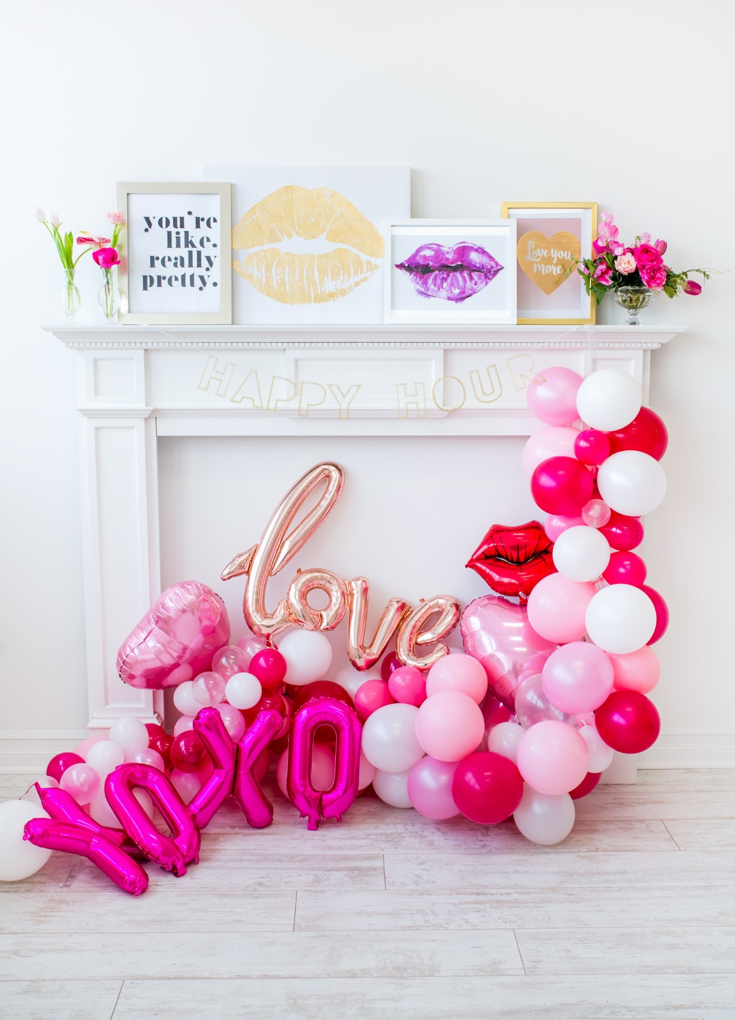 Balloons from Tickled Pink Valentine's Day Brunch styled by A Charming Fete | Black Twine