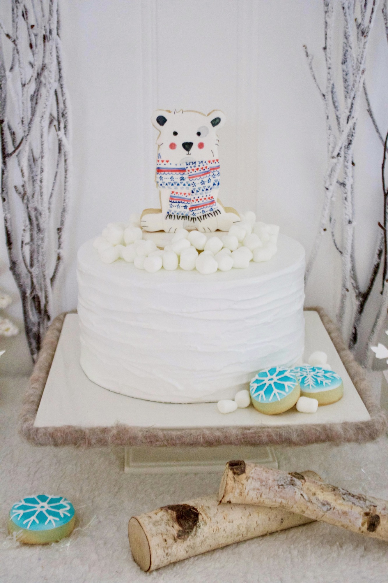 Polar Bear Cake from Winter ONEderland Birthday Party by Jen T by Design | Black Twine