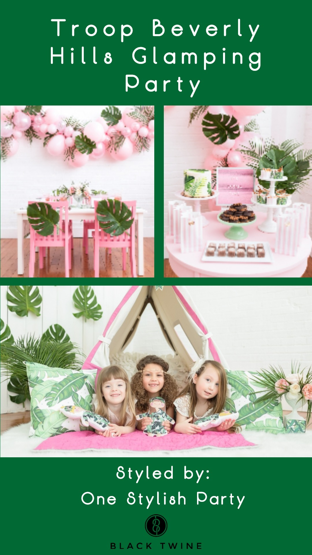 Troop Beverly Hills Glamping Party Styled by One Stylish Party | Black Twine