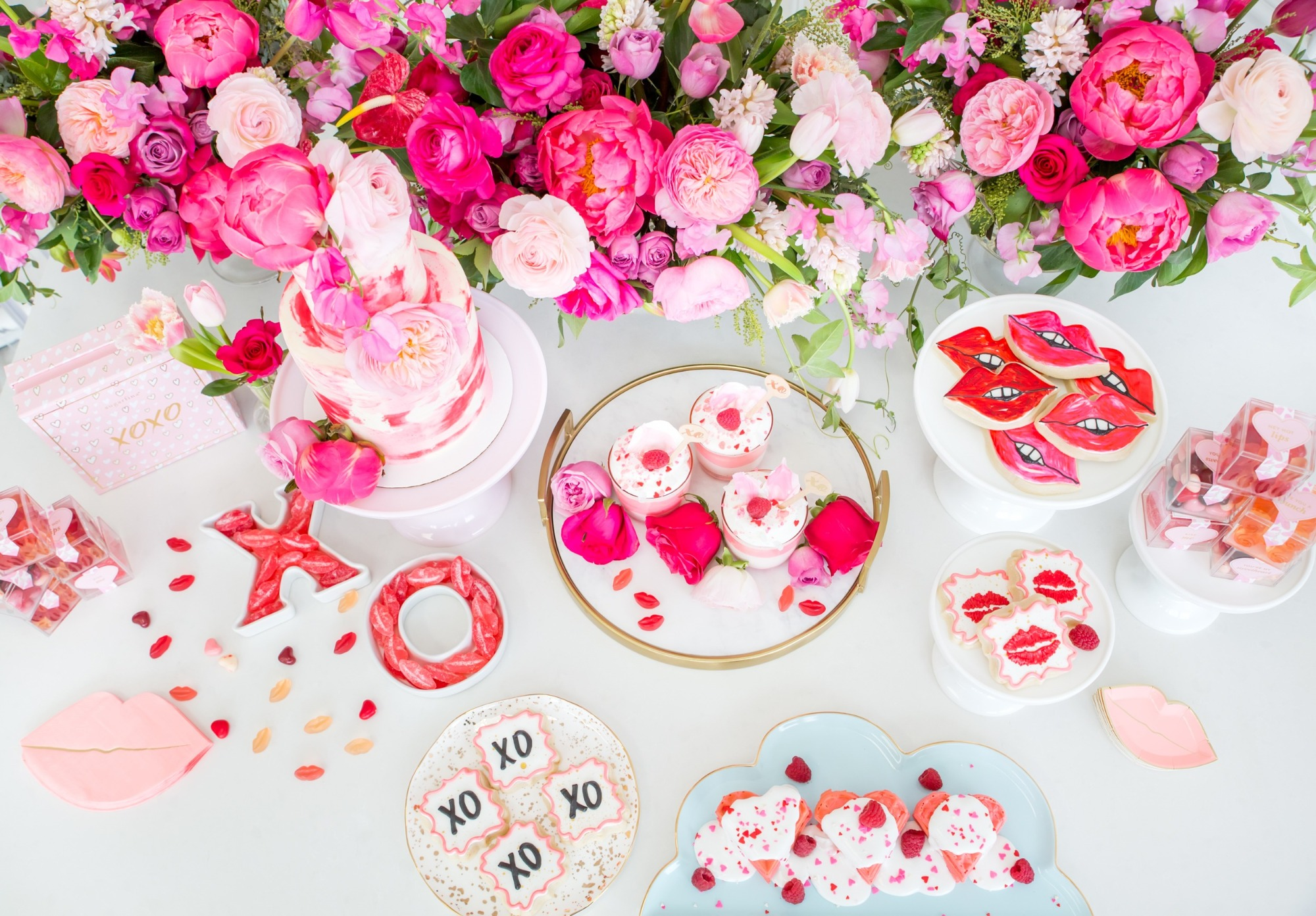 Dessert Table Details from Tickled Pink Valentine's Day Brunch styled by A Charming Fete | Black Twine