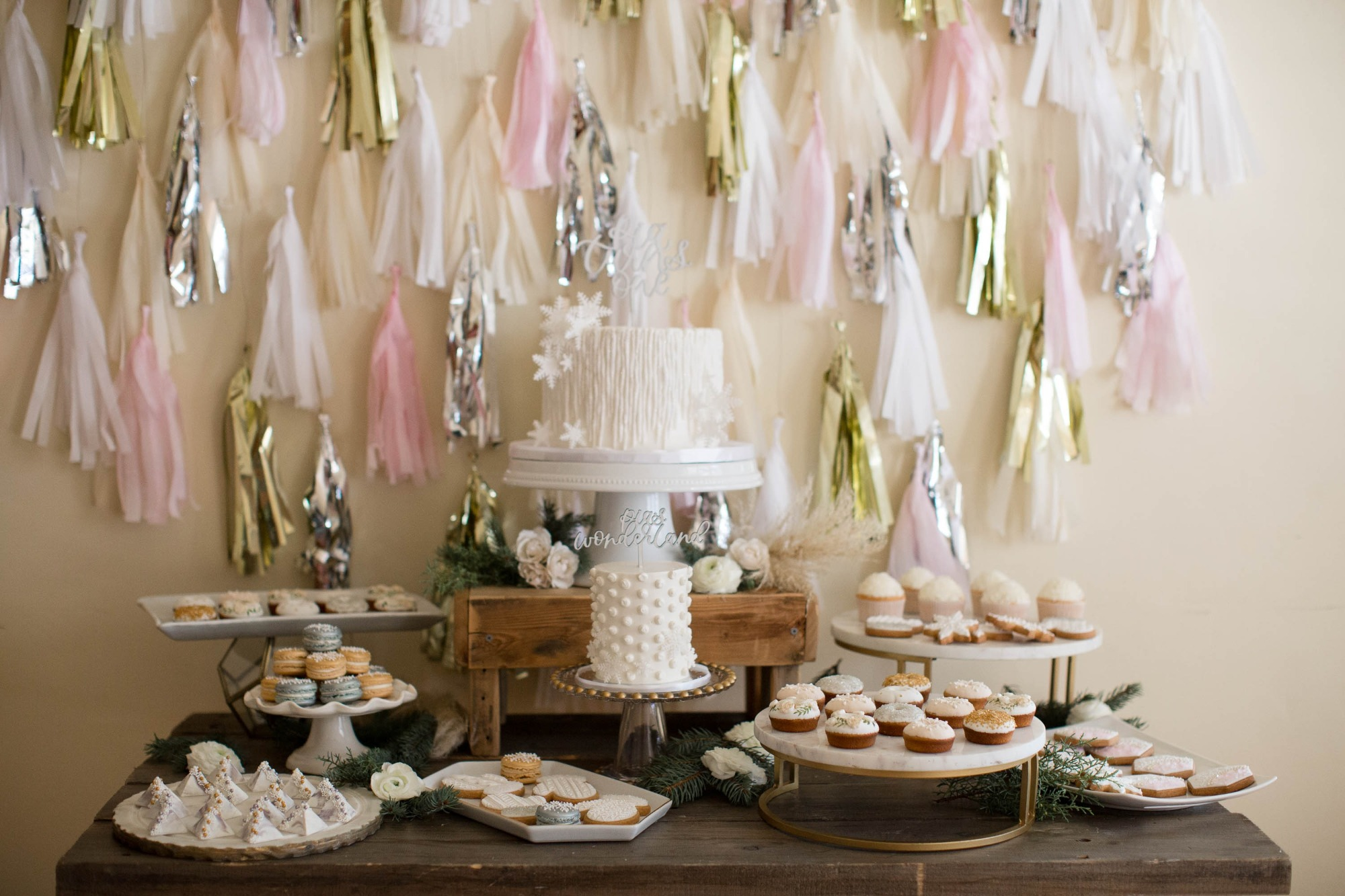 Dessert Table from Snowy Birthday Soiree Styled by Deets & Things   Black Twine