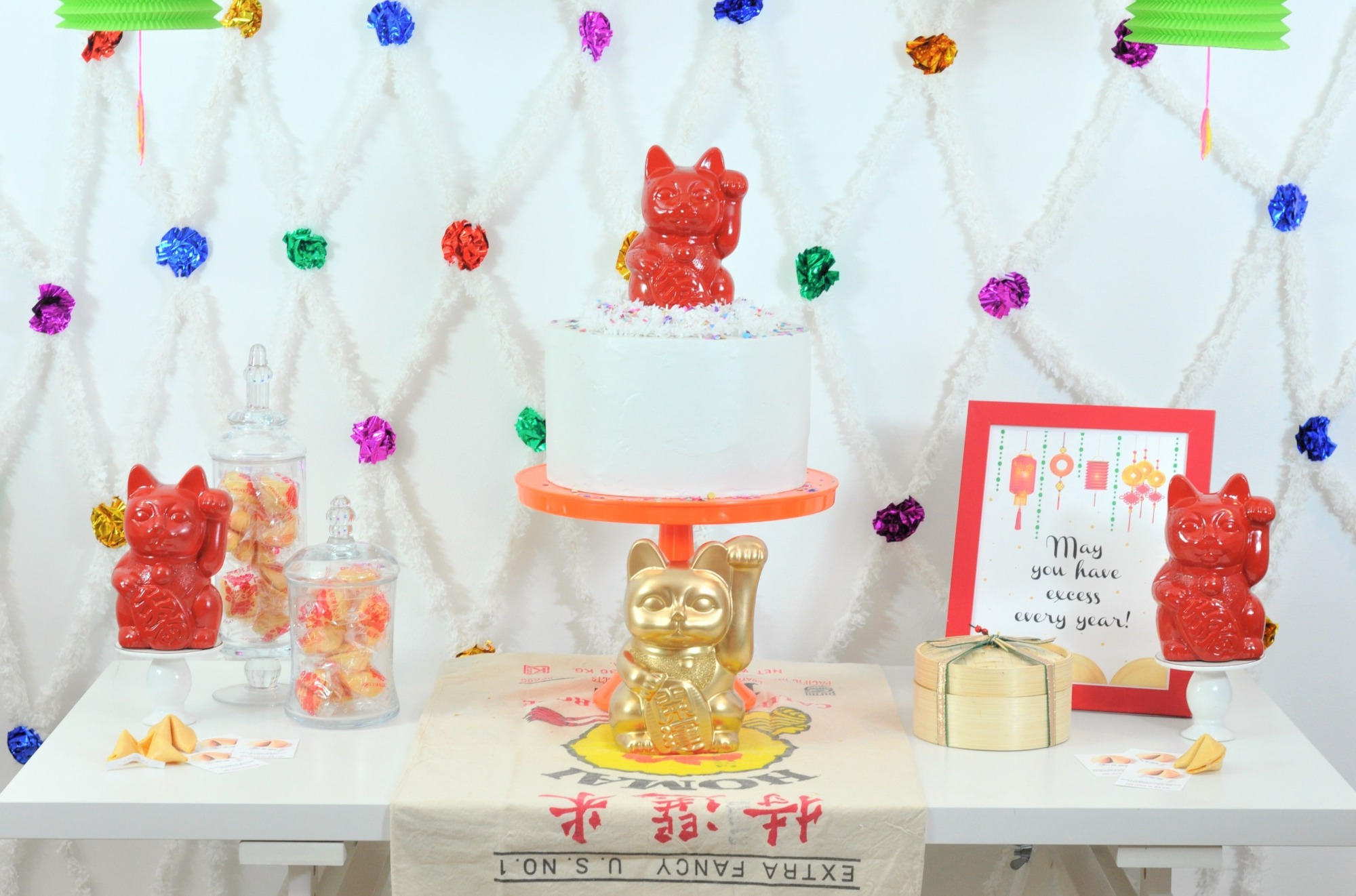 Dessert Table from Lucky Cat Chinese New Year Party by Fern & Maple | Black Twine