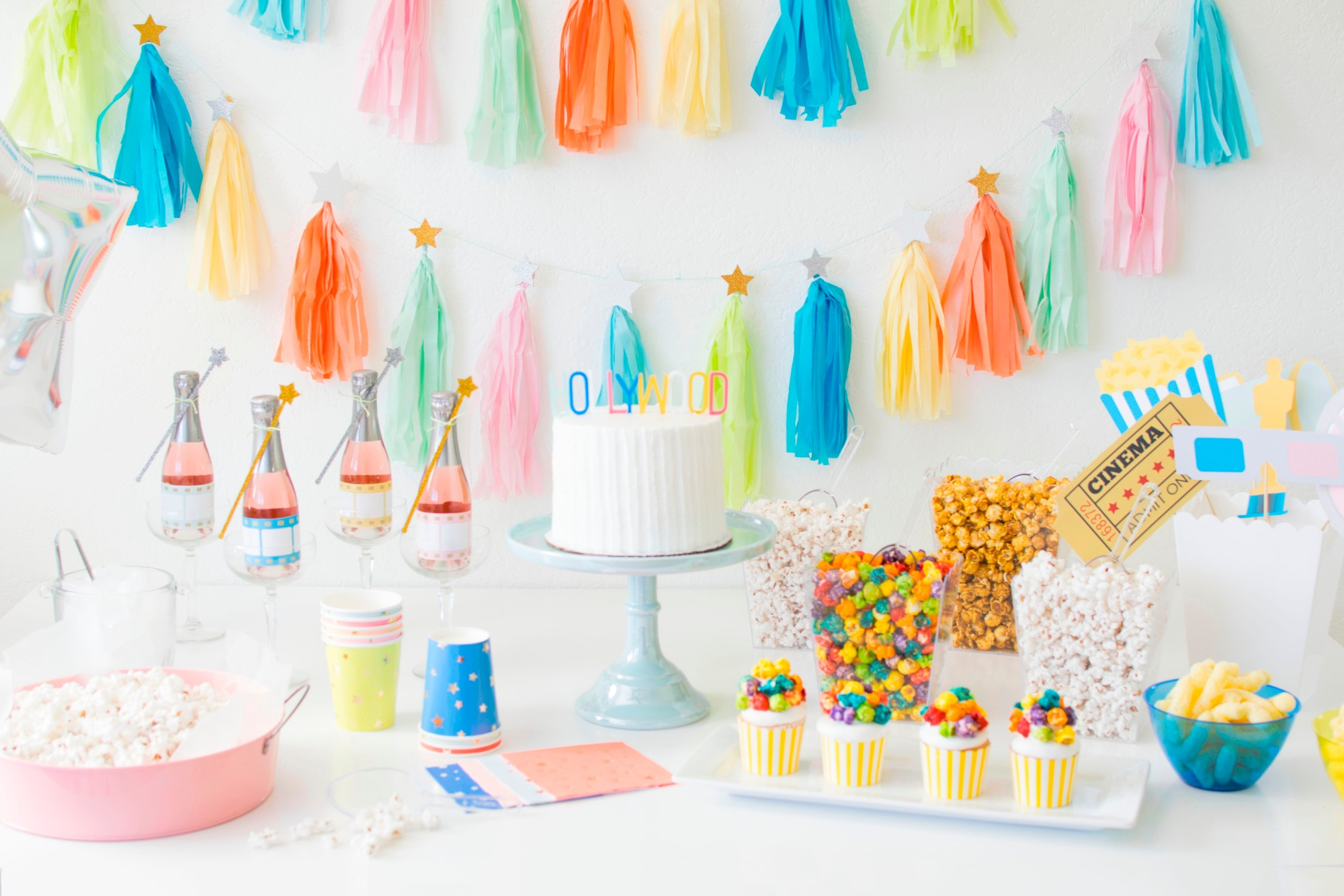 Food Table Cake Popcorn Champagne | Hollywood Glamour Party Styled by Twinkle Twinkle Little Party | Black Twine