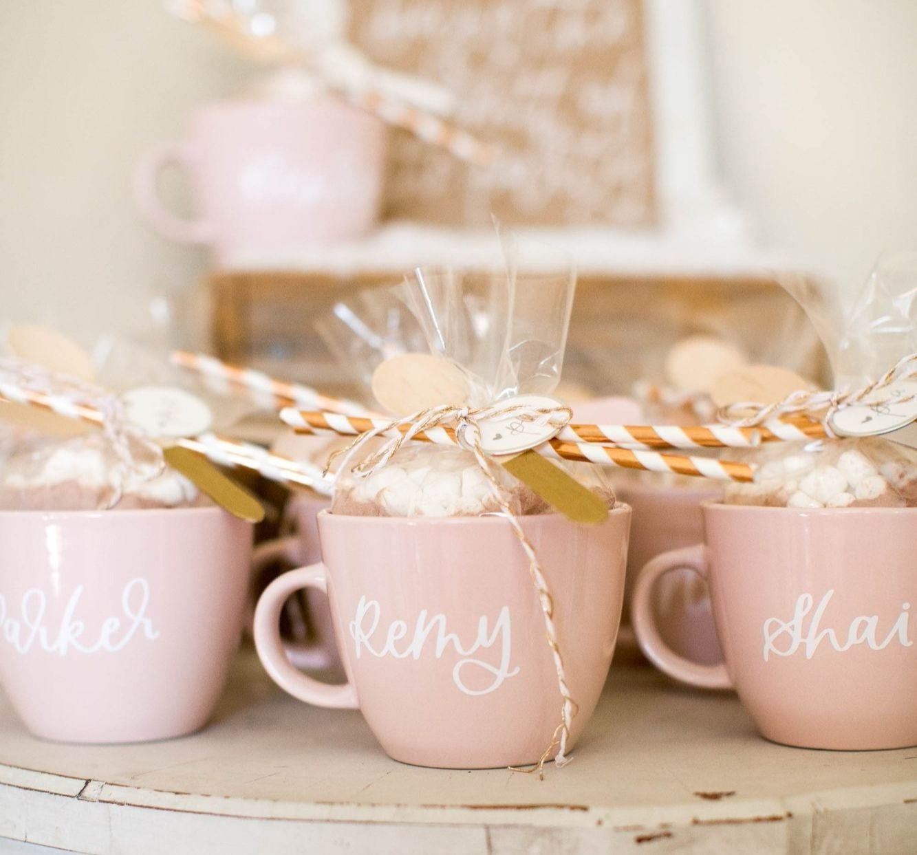 Hot Cocoa Favor Mugs styled by Deets & Things | Black Twine
