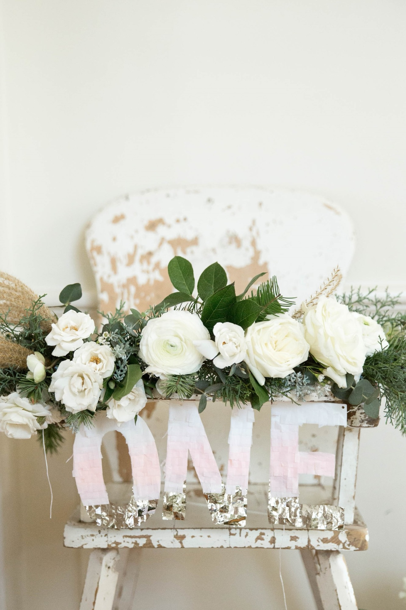 Florals from Snowy Birthday Soiree Styled by Deets & Things | Black Twine