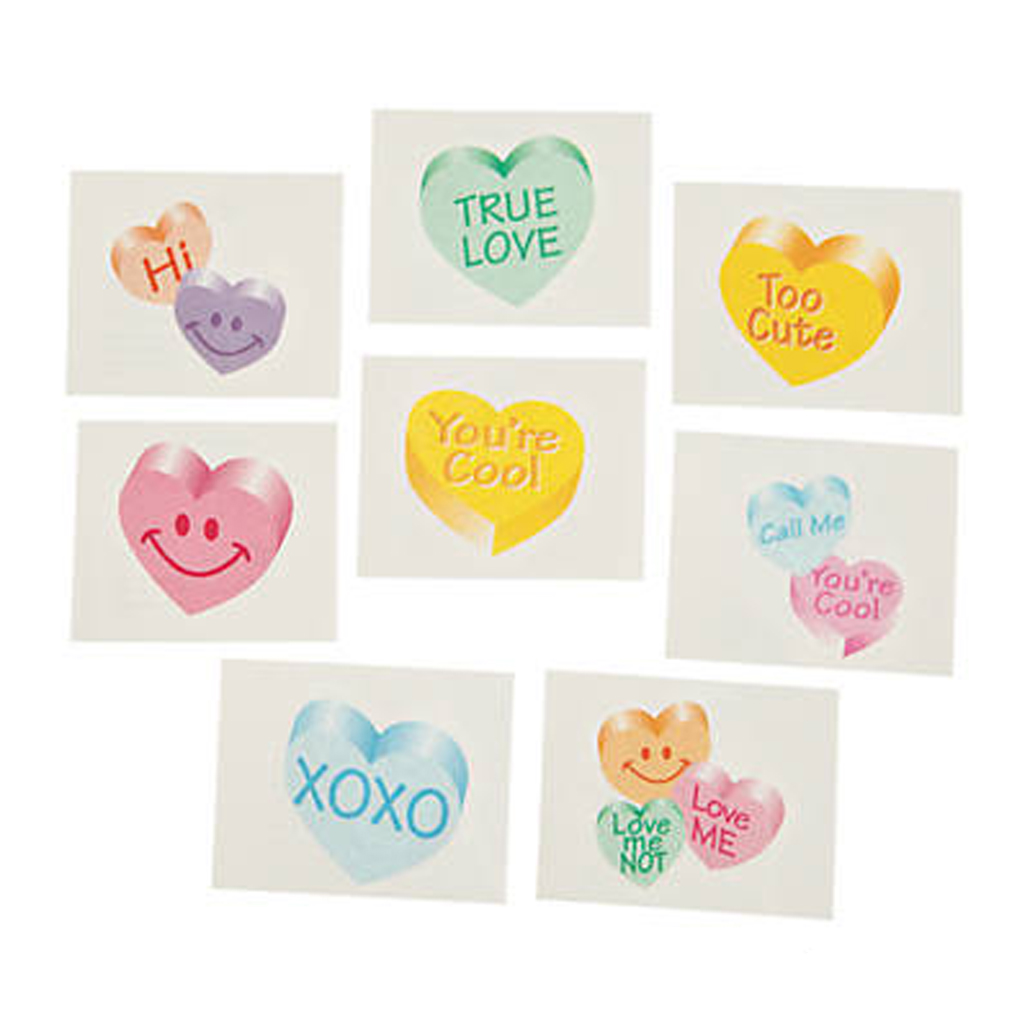 Glitter Conversation Heart Temporary Tattoos from Oriental Trading