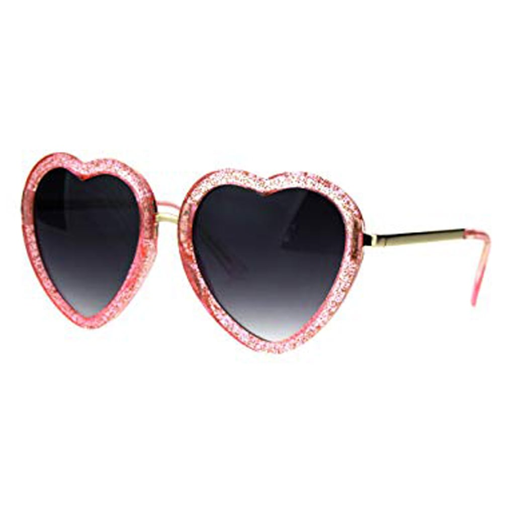 Glittery Heart Shape Sunglasses Sparkly Love Fashion Womens Shades UV 400