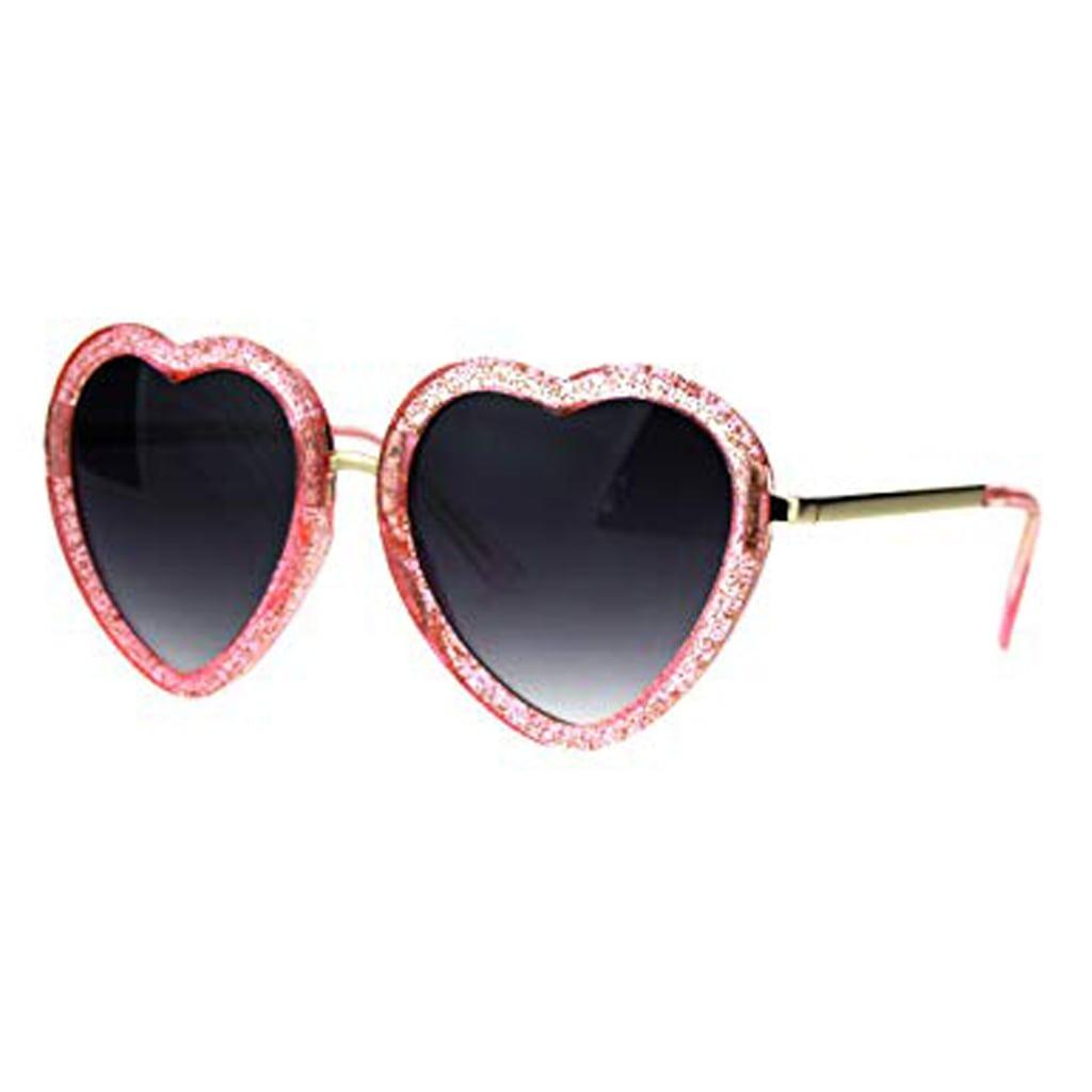Glittery Heart Shape Sunglasses Sparkly Love Fashion Womens Shades UV 400
