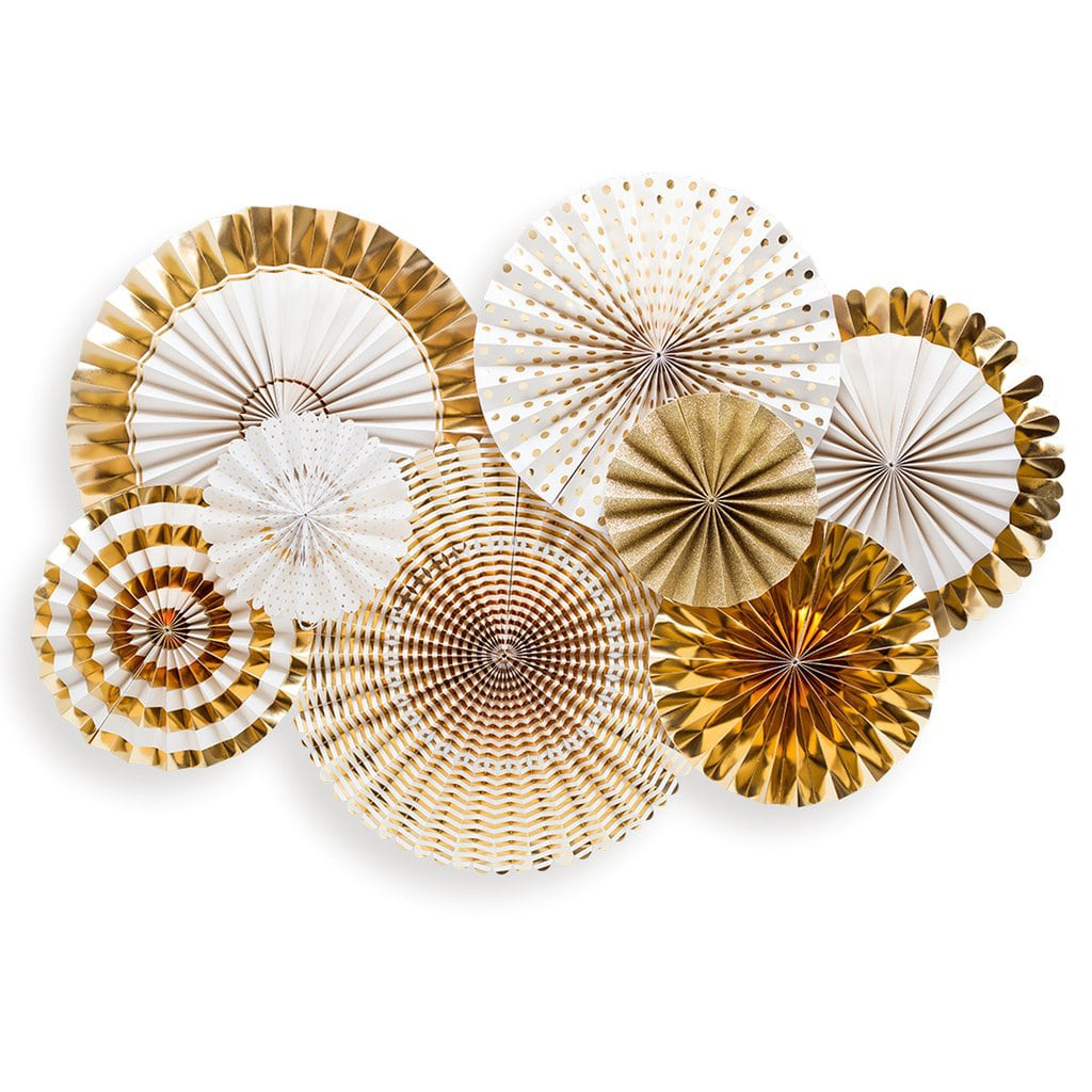 My Mind's Eye Gold & White Party Fans