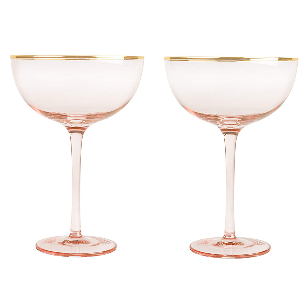 Bridges 2 Piece Love Blush Rose Gilded Rim 8 Oz. Coupe Flutes