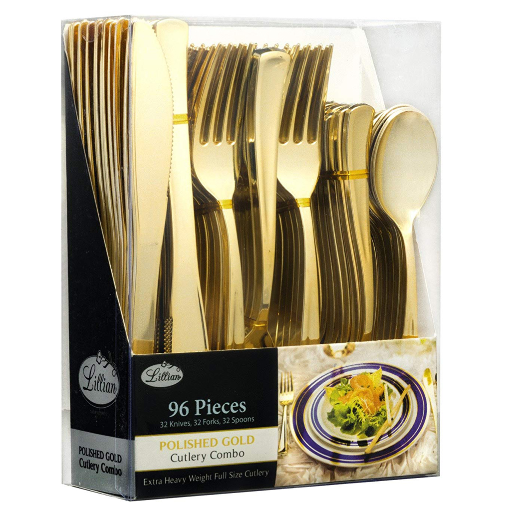 Disposable Gold Cutlery (96 pieces)