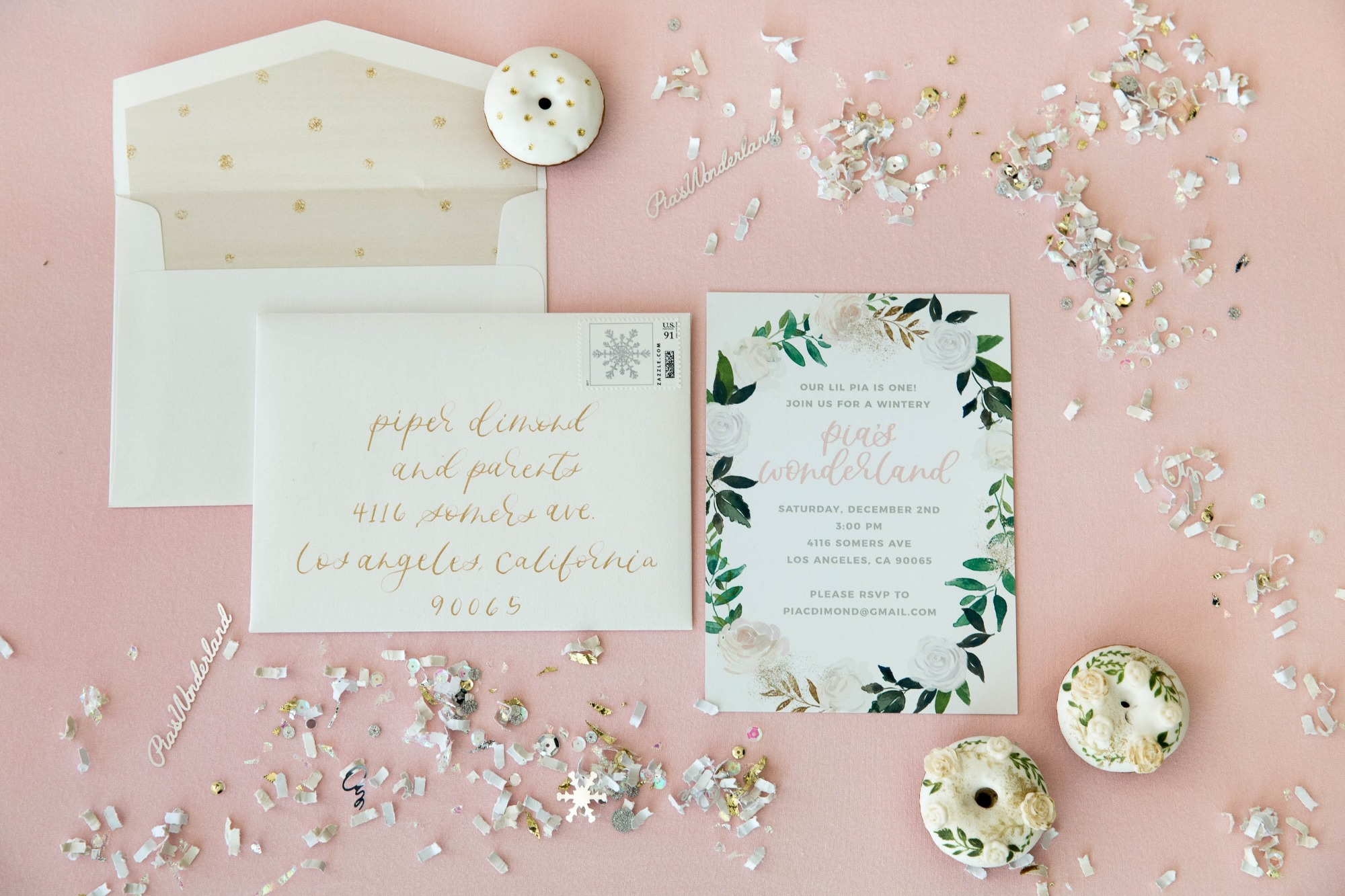 Invitation from Snowy Birthday Soiree Styled by Deets & Things | Black Twine