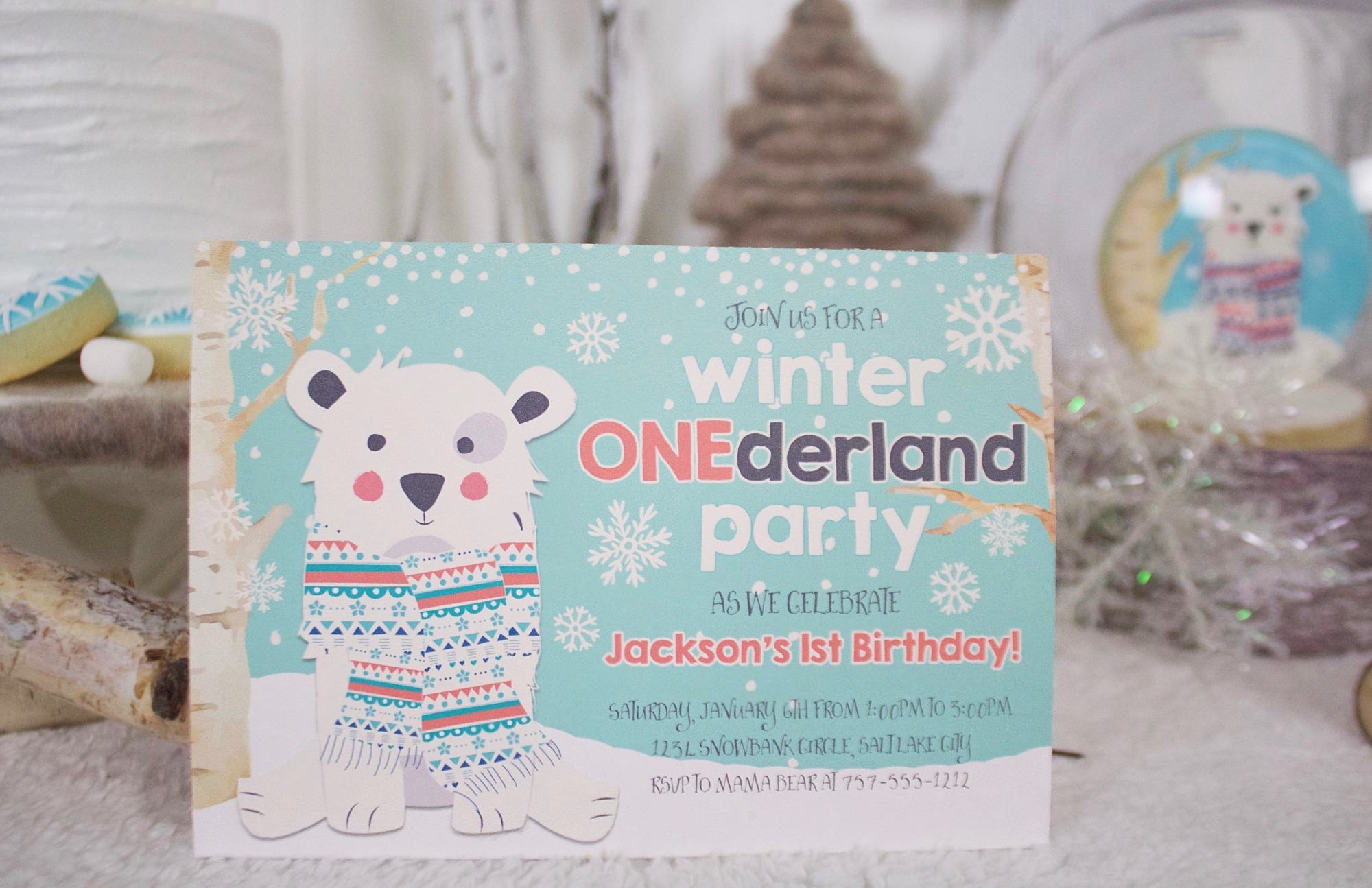 Invitation from Winter ONEderland Birthday Party by Jen T by Design | Black Twine
