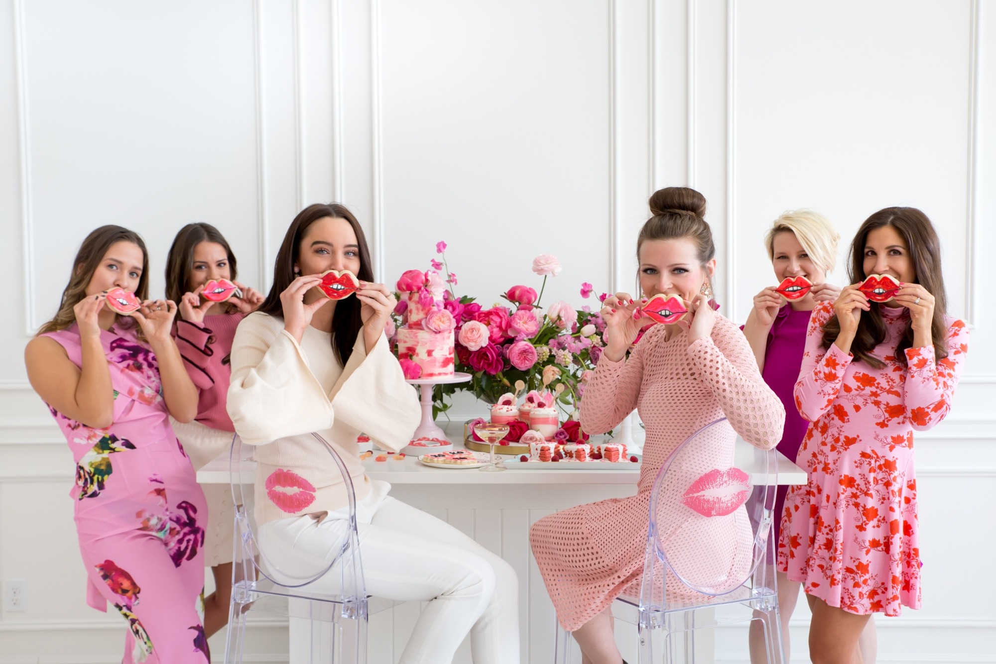 Lip Cookies & Guests from Tickled Pink Valentine's Day Brunch styled by A Charming Fete | Black Twine