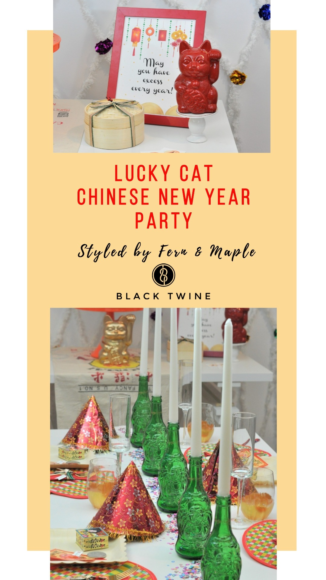 Lucky Cat Chinese New Year Party by Fern & Maple | Black Twine