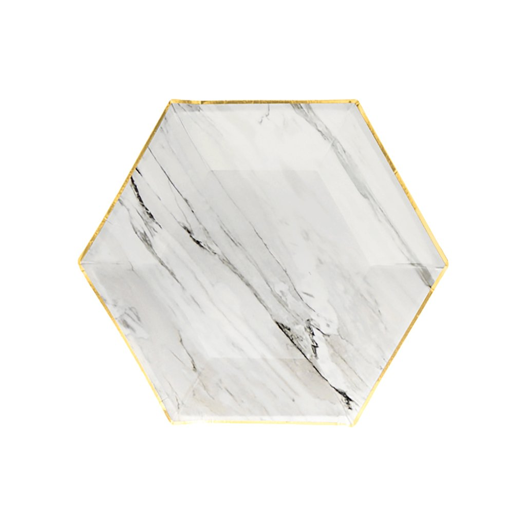 Marble Hexagon Small Paper Plates by Harlow & Grey