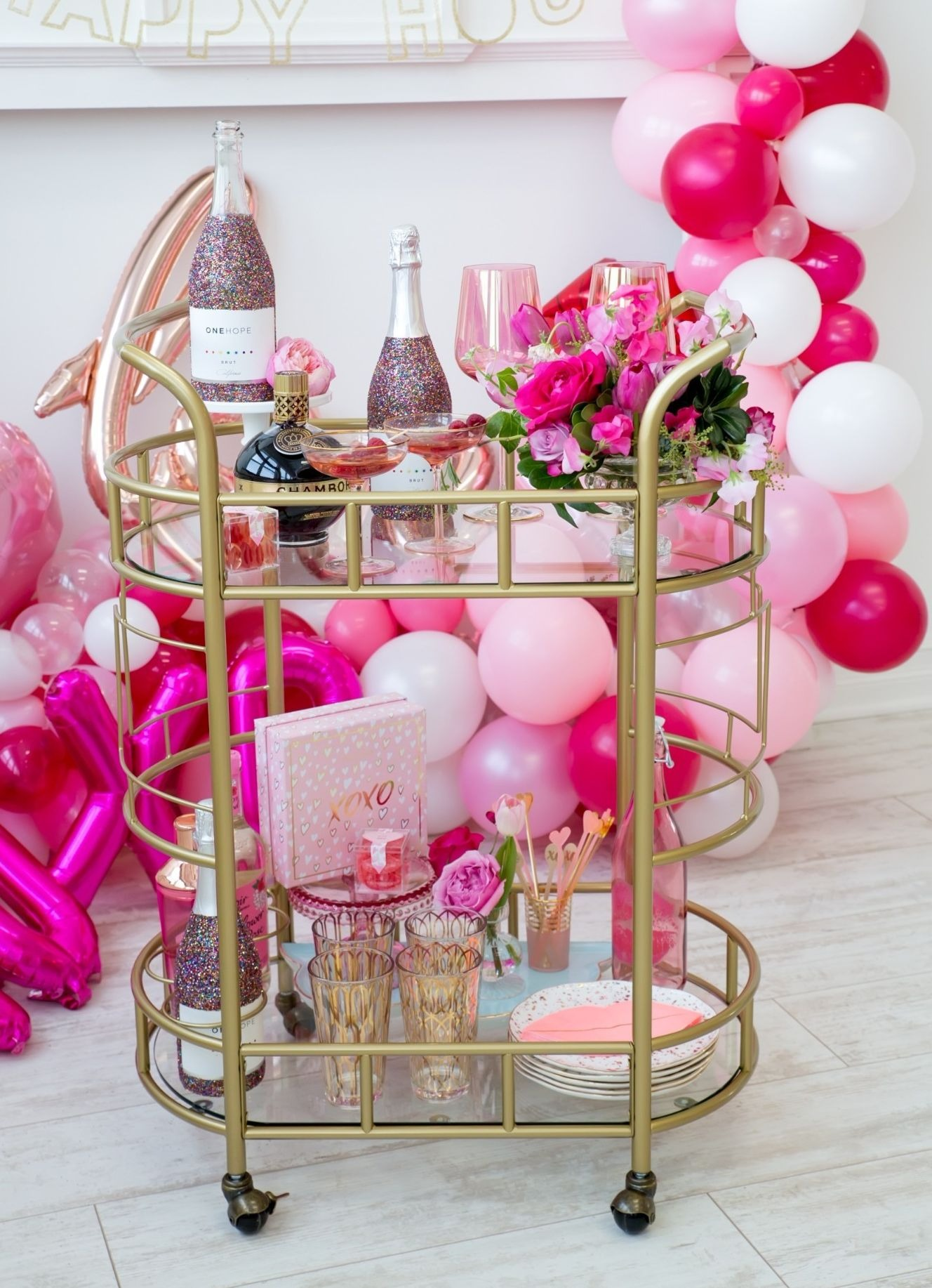 Bar Cart from Tickled Pink Valentine's Day Brunch styled by A Charming Fete | Black Twine
