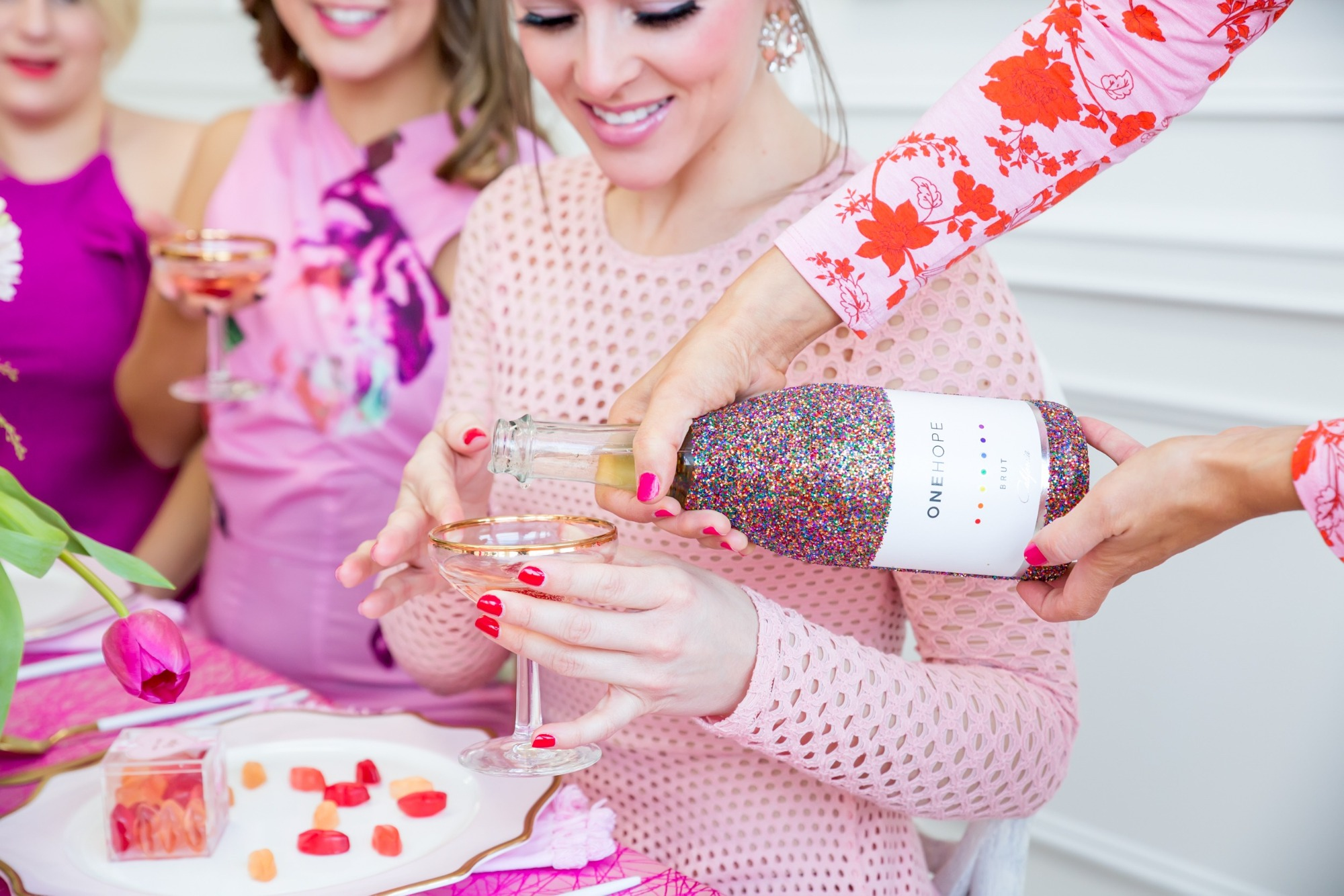 Pouring One Hope Champagne from Tickled Pink Valentine's Day Brunch styled by A Charming Fete | Black Twine