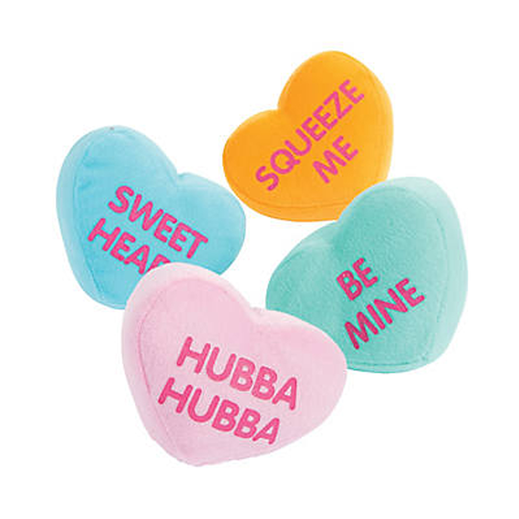 Plush Conversation Hearts from Oriental Trading