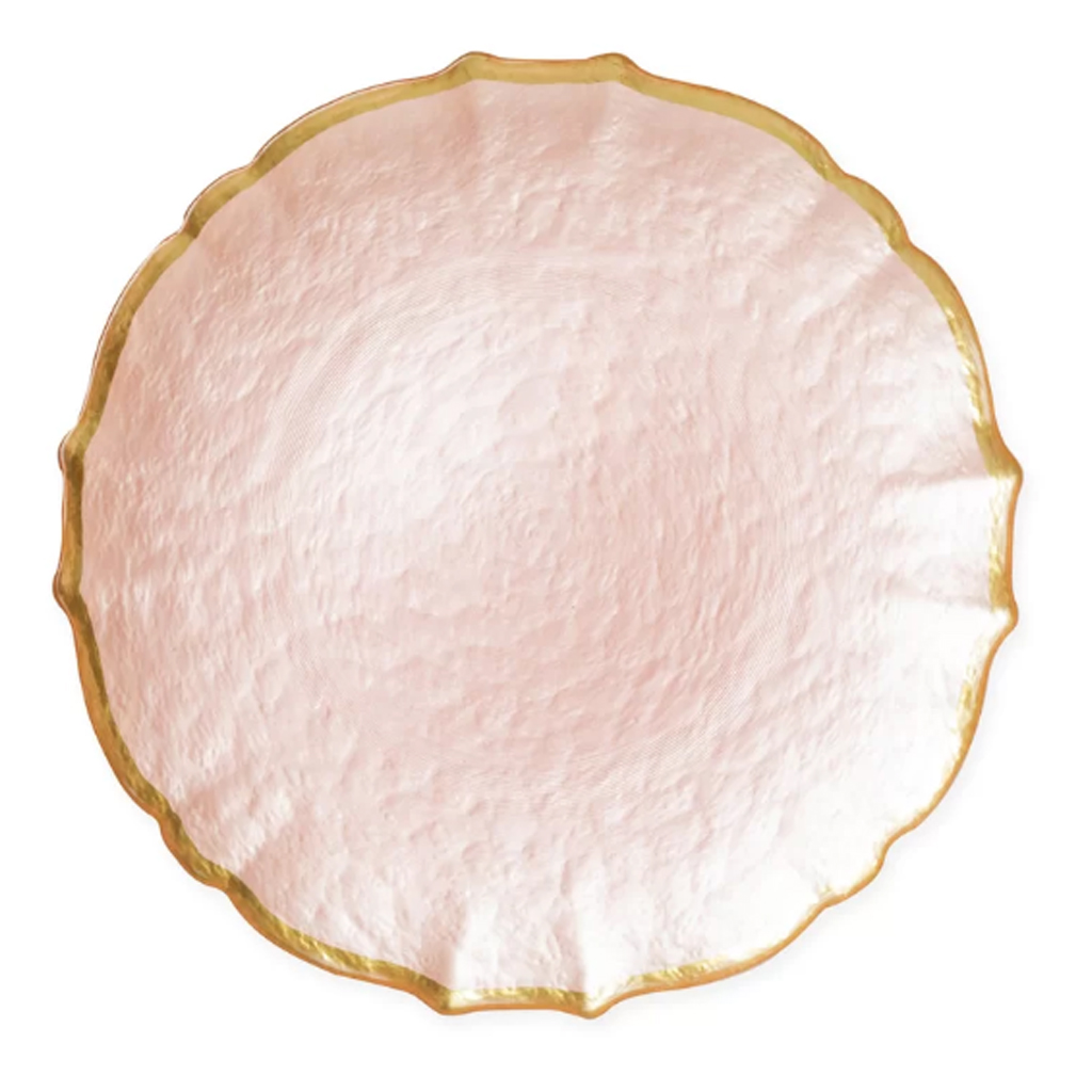 Pink Glass Charger Plate by WayFair