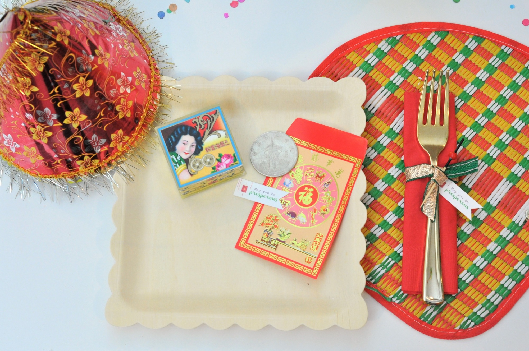 Place Setting from Lucky Cat Chinese New Year Party by Fern & Maple   Black Twine