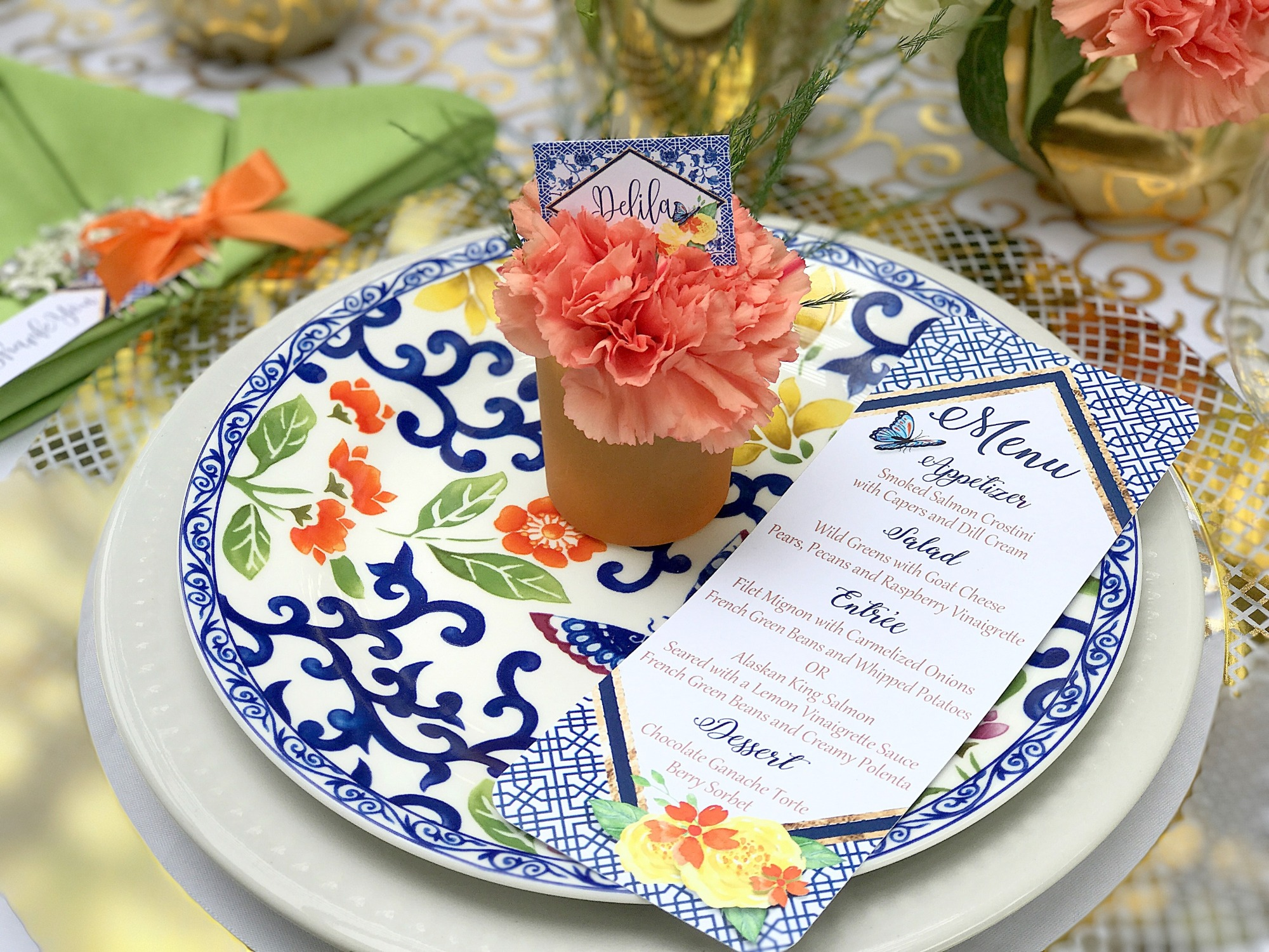 Place Setting from Chinoiserie Garden Bridal Shower Styled by A Lovely Design | Black Twine