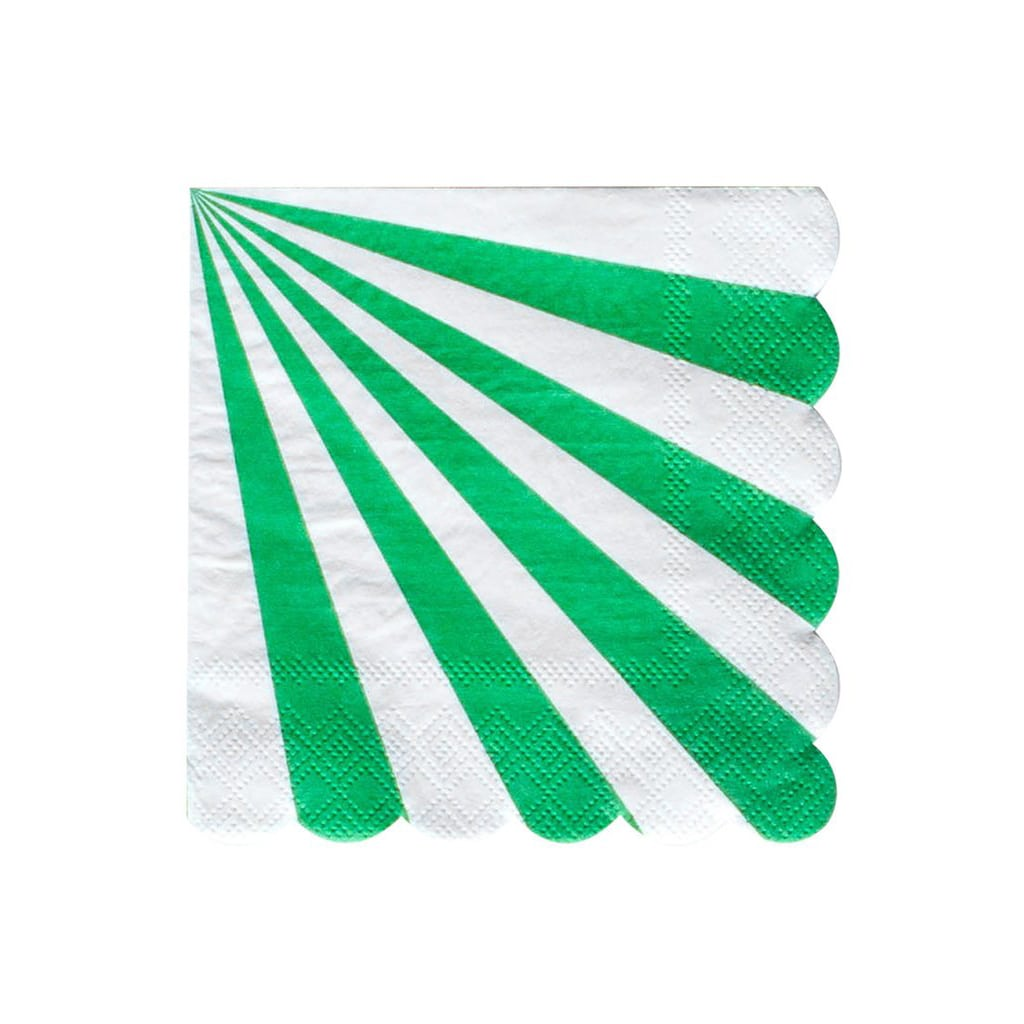 Meri Meri Striped Party Napkins, Set of 20, Large Green