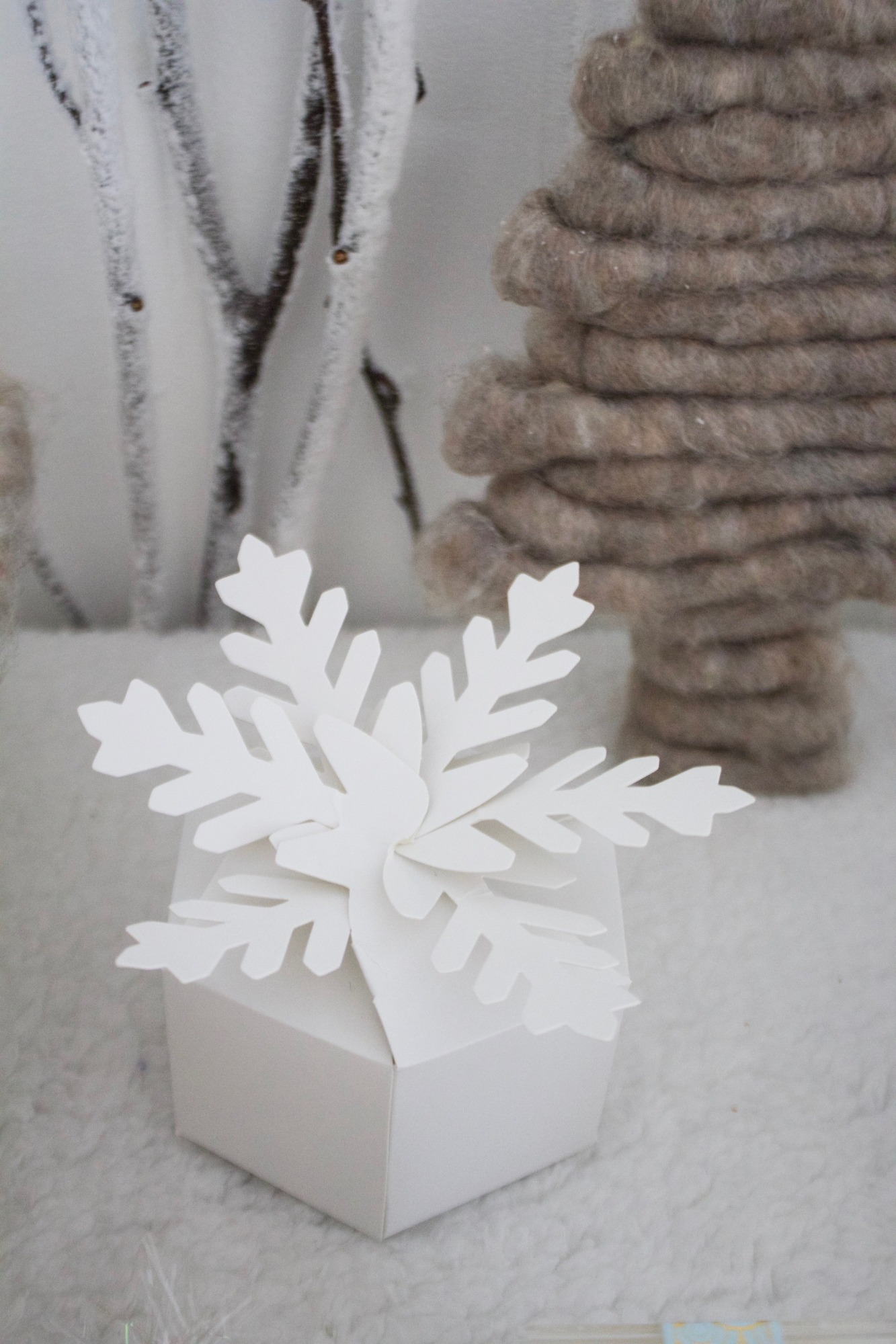 Snowflake Box from Winter ONEderland Birthday Party by Jen T by Design | Black Twine