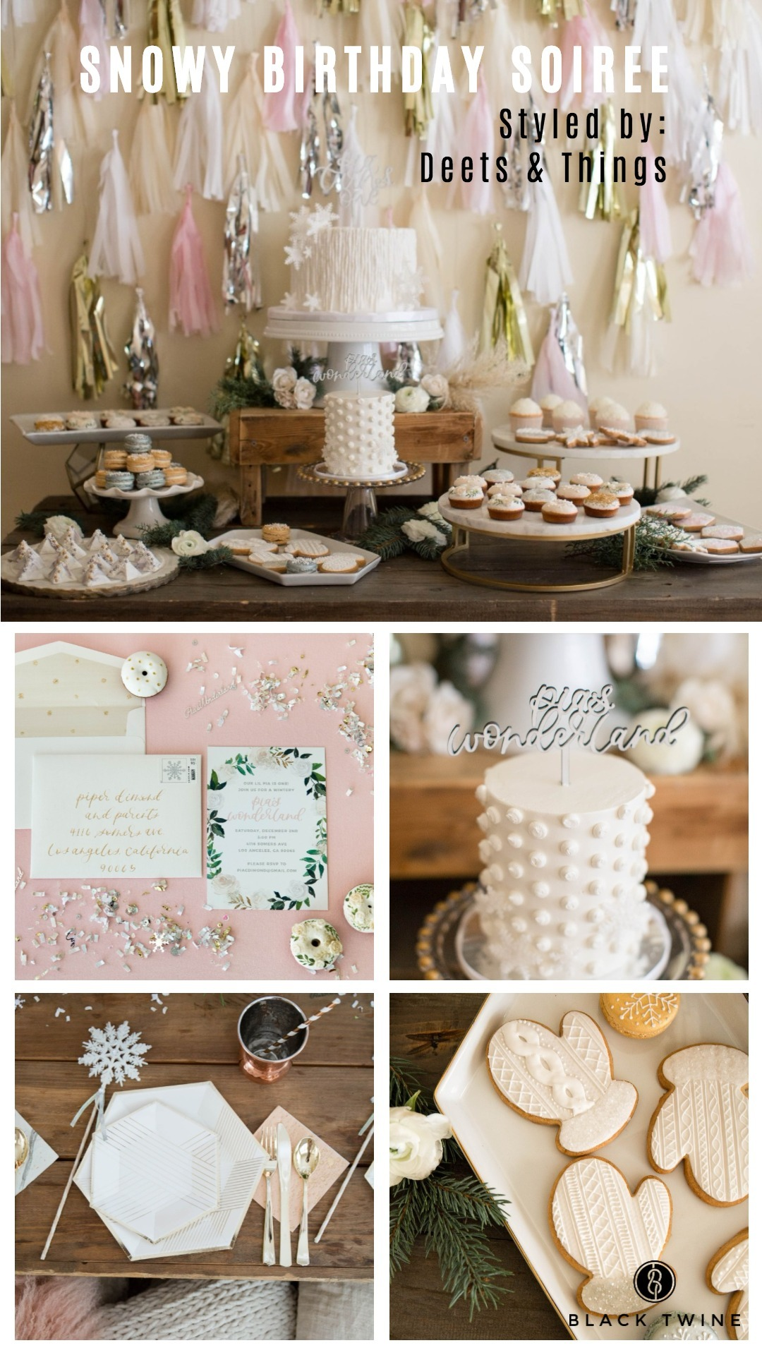 Snowy Birthday Soiree Styled by Deets & Things | Black Twine