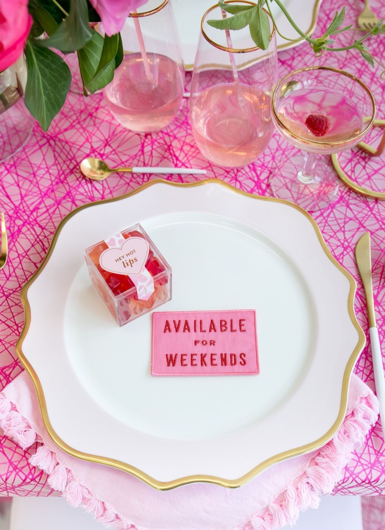 Place Setting with Sugarfina from Tickled Pink Valentine's Day Brunch styled by A Charming Fete | Black Twine