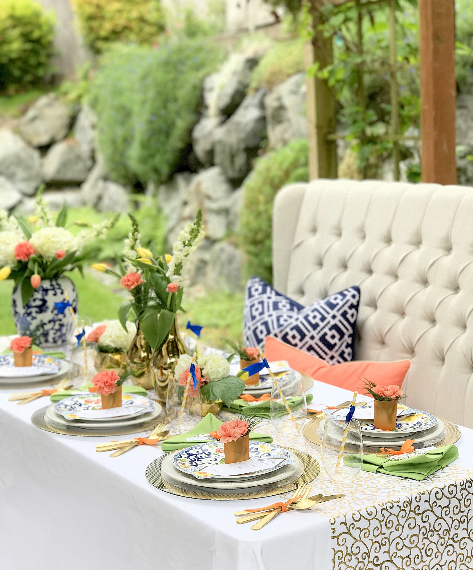 Tablescape from Chinoiserie Garden Bridal Shower Styled by A Lovely Design | Black Twine