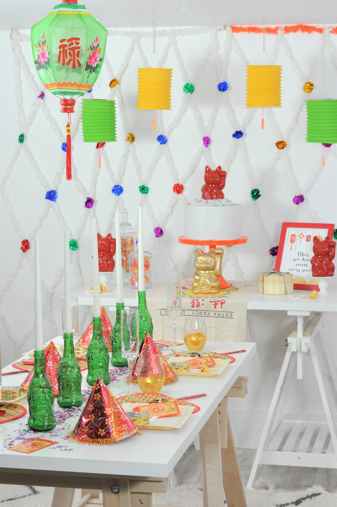 Tablescape & Dessert Table from Lucky Cat Chinese New Year Party by Fern & Maple | Black Twine