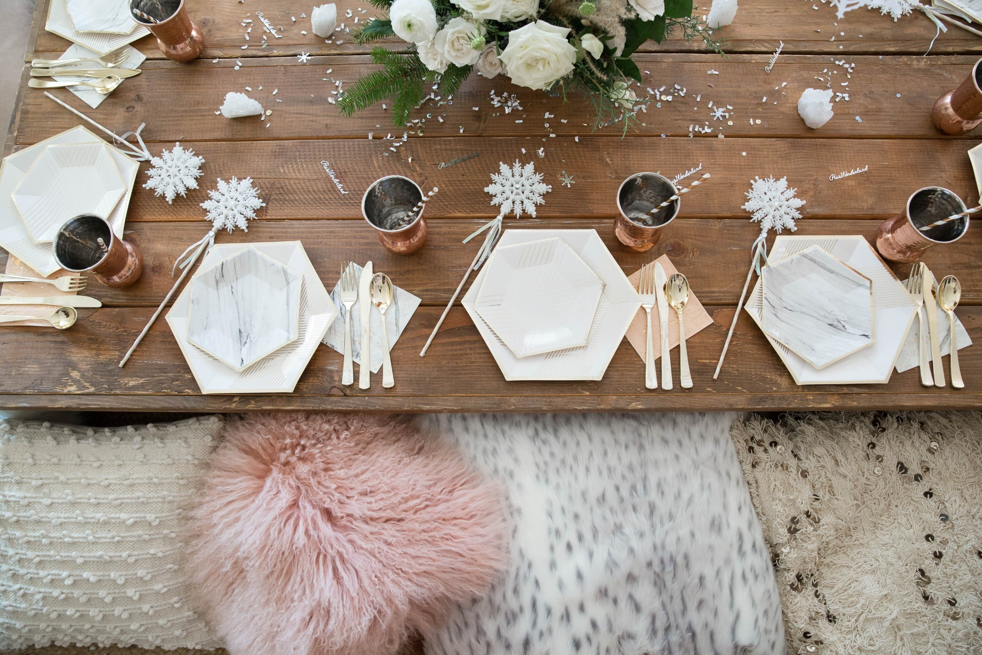 Tablescape and Place Settings from Snowy Birthday Soiree Styled by Deets & Things | Black Twine