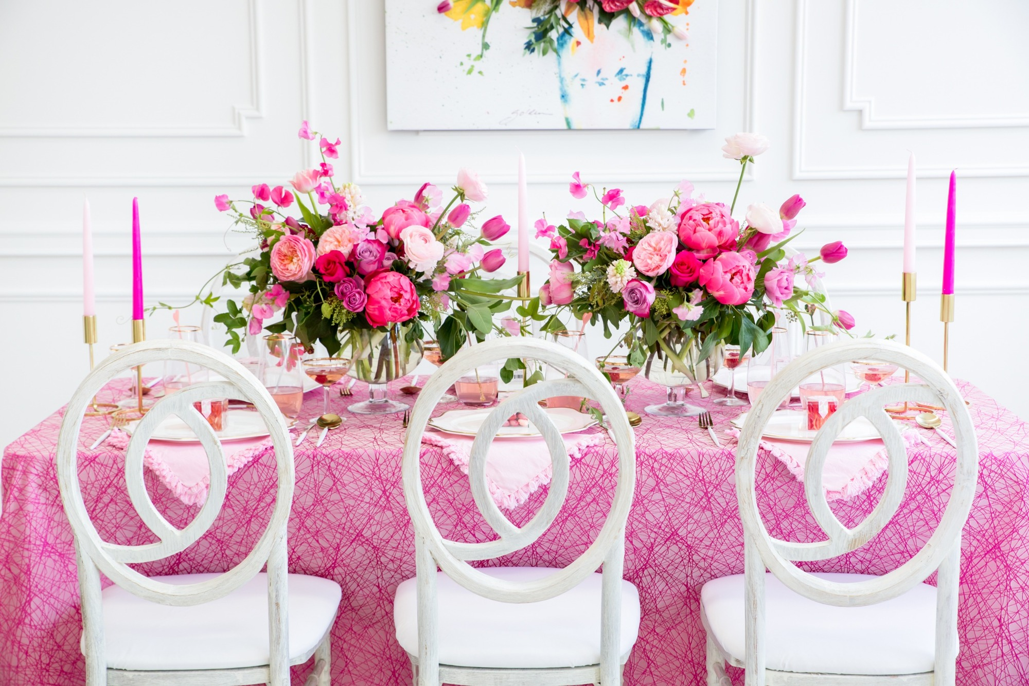 Tablescape from Tickled Pink Valentine's Day Brunch styled by A Charming Fete | Black Twine